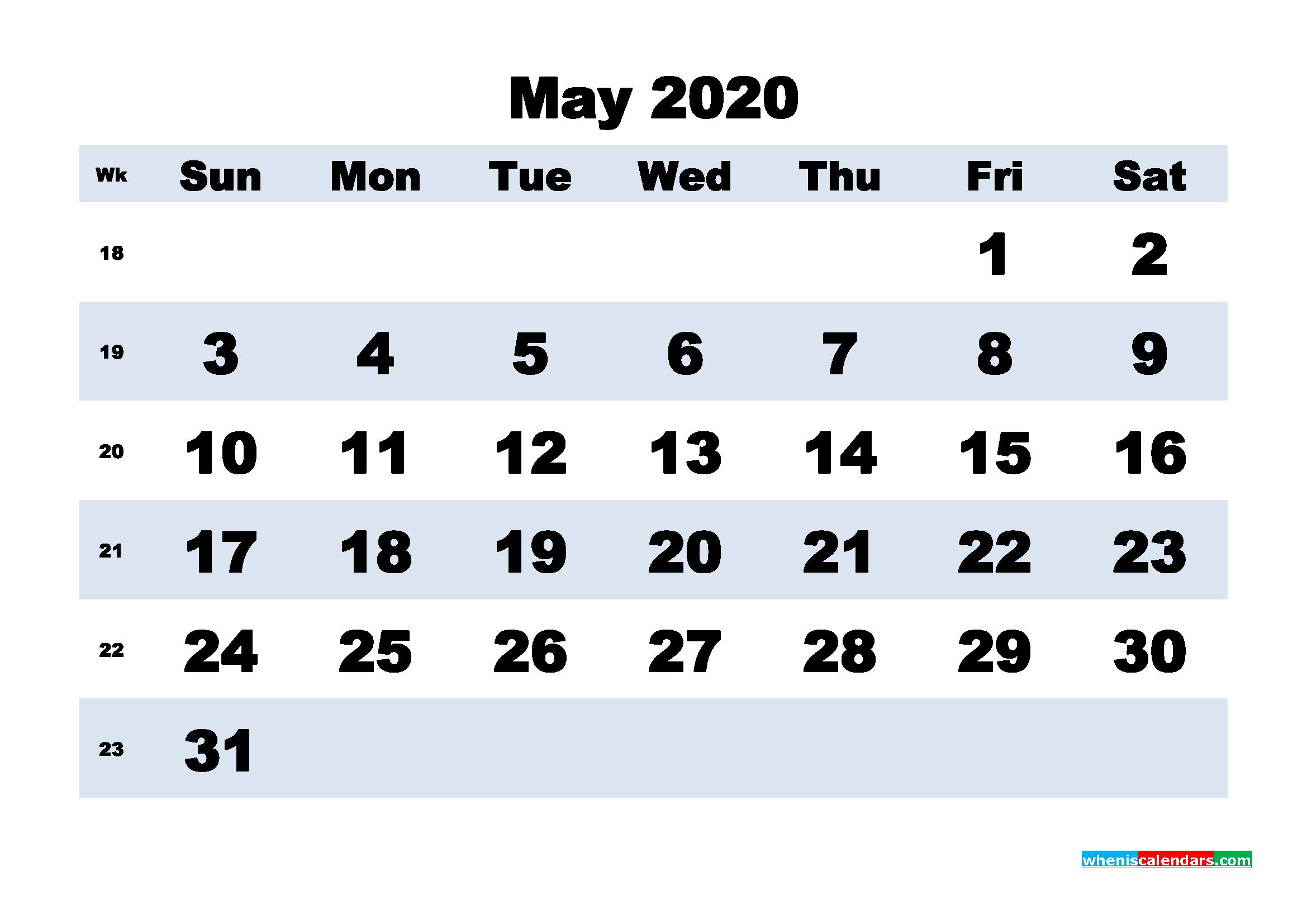 May Printable Calendar 2020 PDF, Word - No.m20b161
