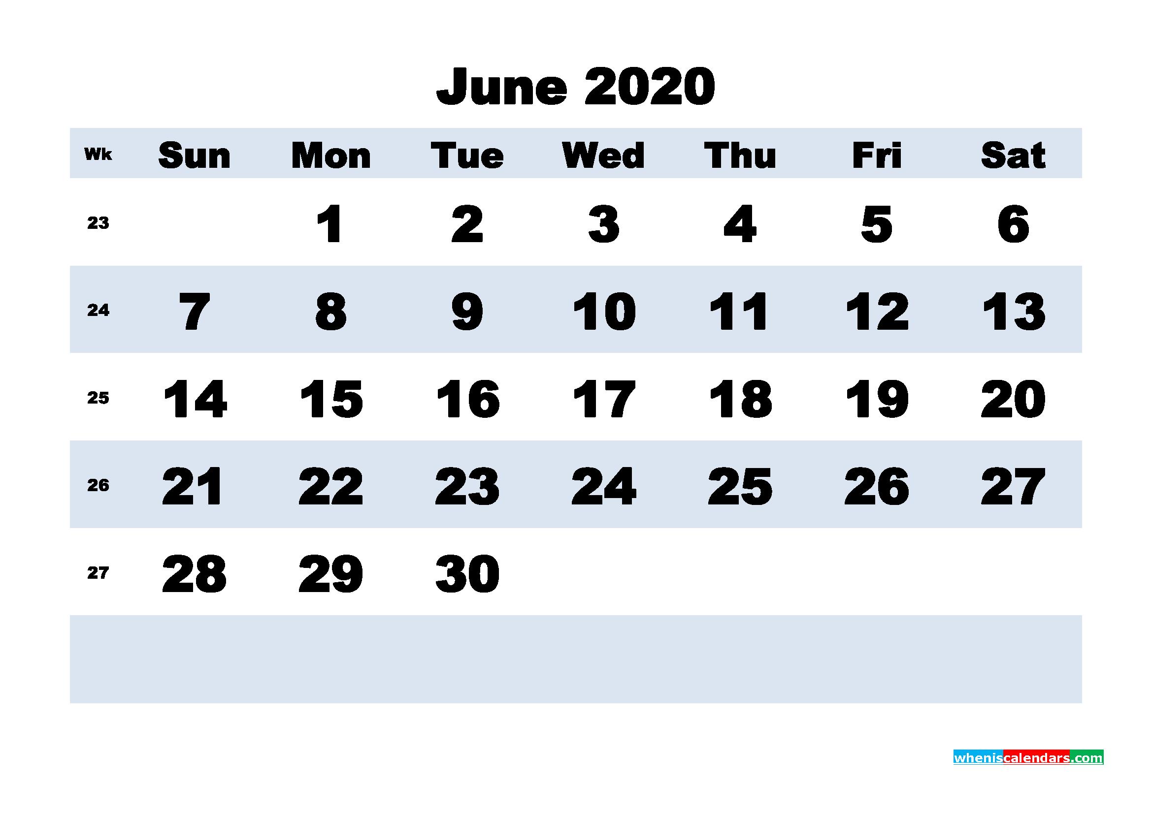 June Printable Calendar 2020 PDF, Word - No.m20b162