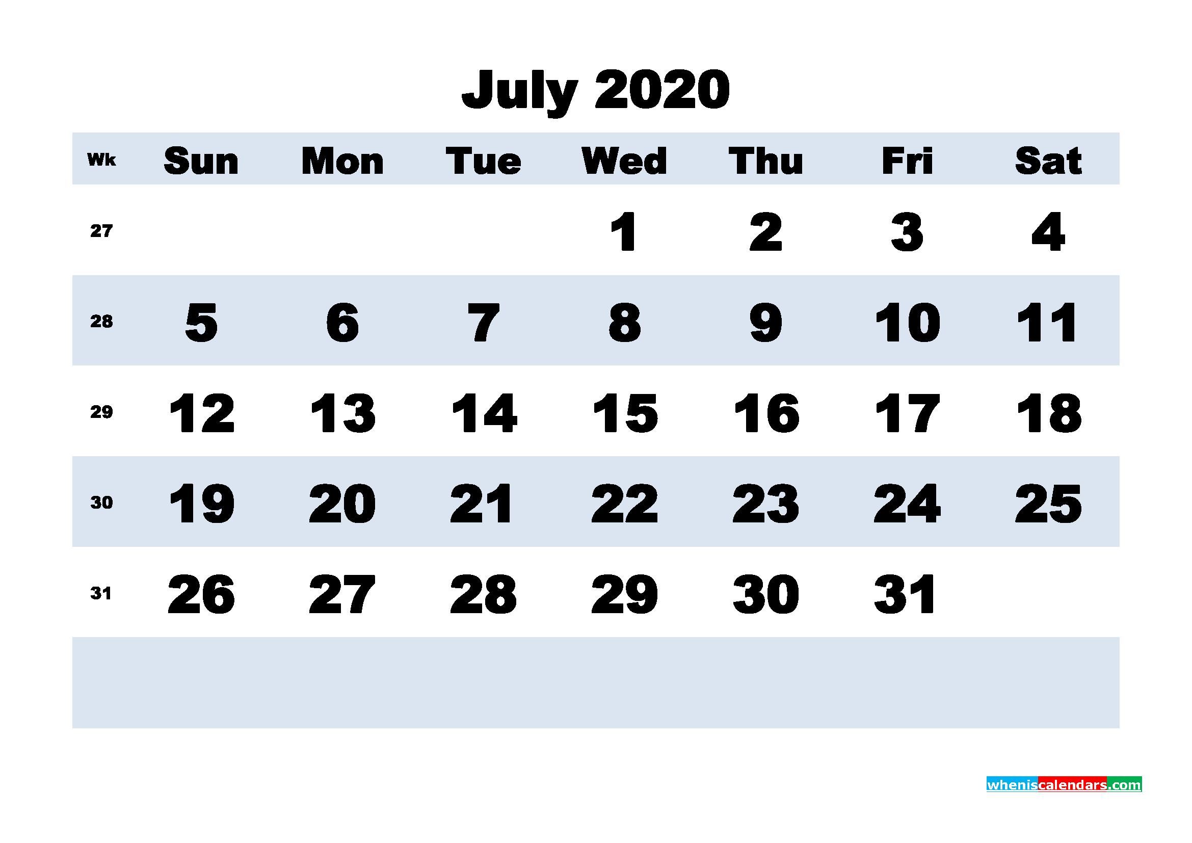 July Printable Calendar 2020 PDF, Word - No.m20b163