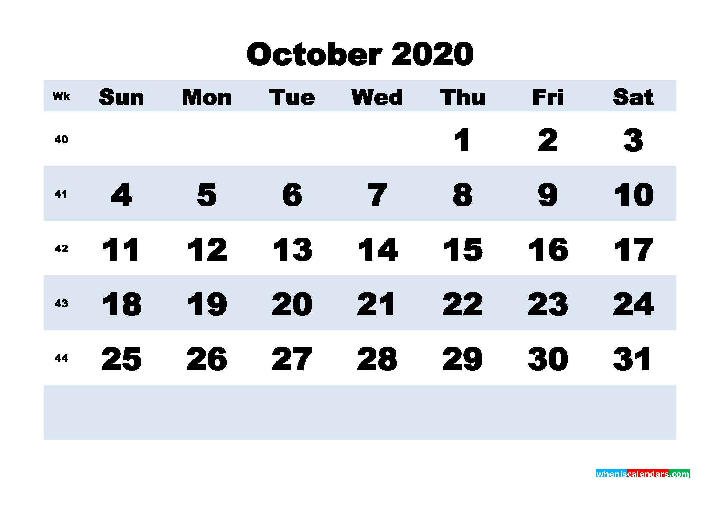 October 2020 Monthly Calendar Template Word
