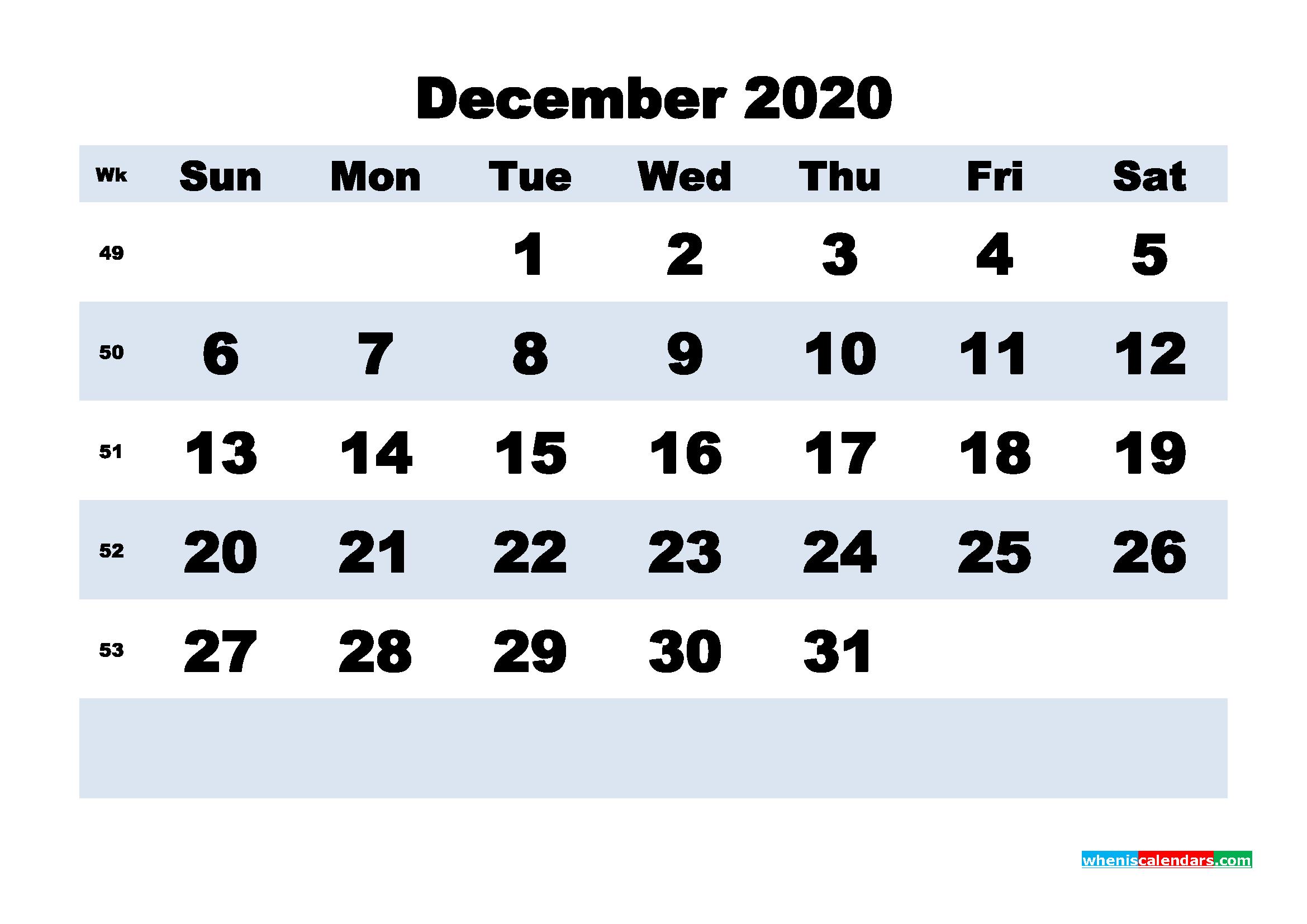 December Printable Calendar 2020 PDF, Word - No.m20b168