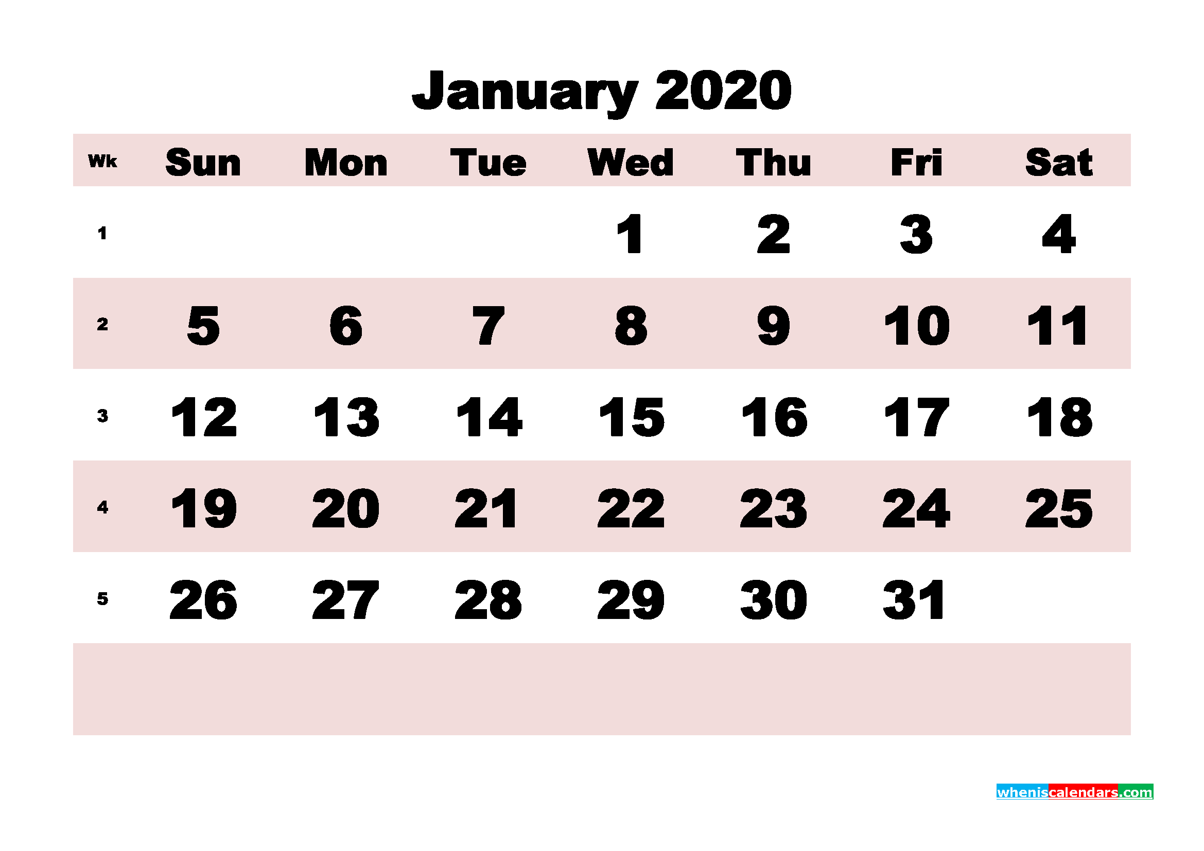 Printable Monthly Calendar 2020 January with Week Numbers
