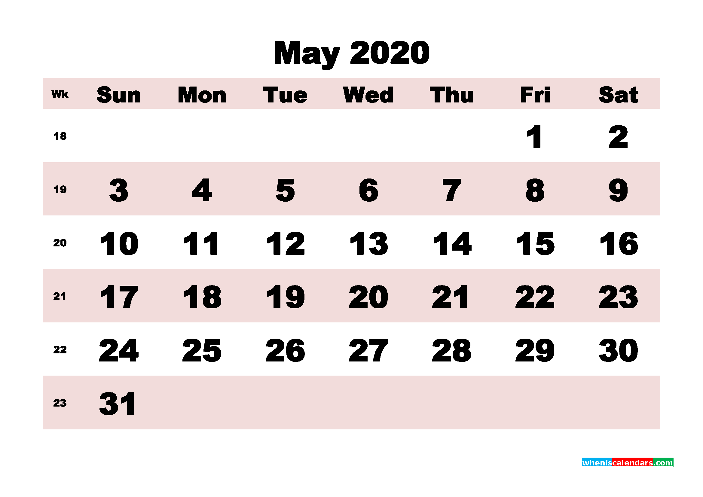 Free Printable May 2020 Calendar - No.m20b173