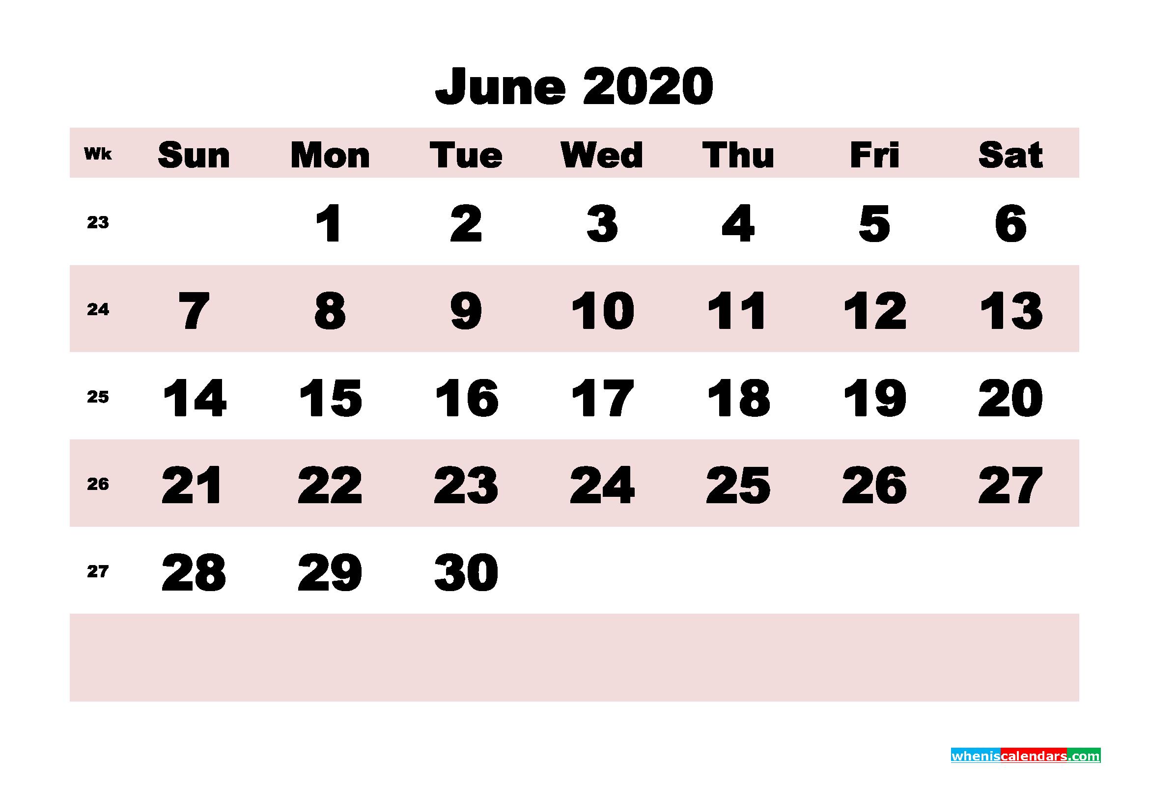Free Printable June 2020 Calendar - No.m20b174
