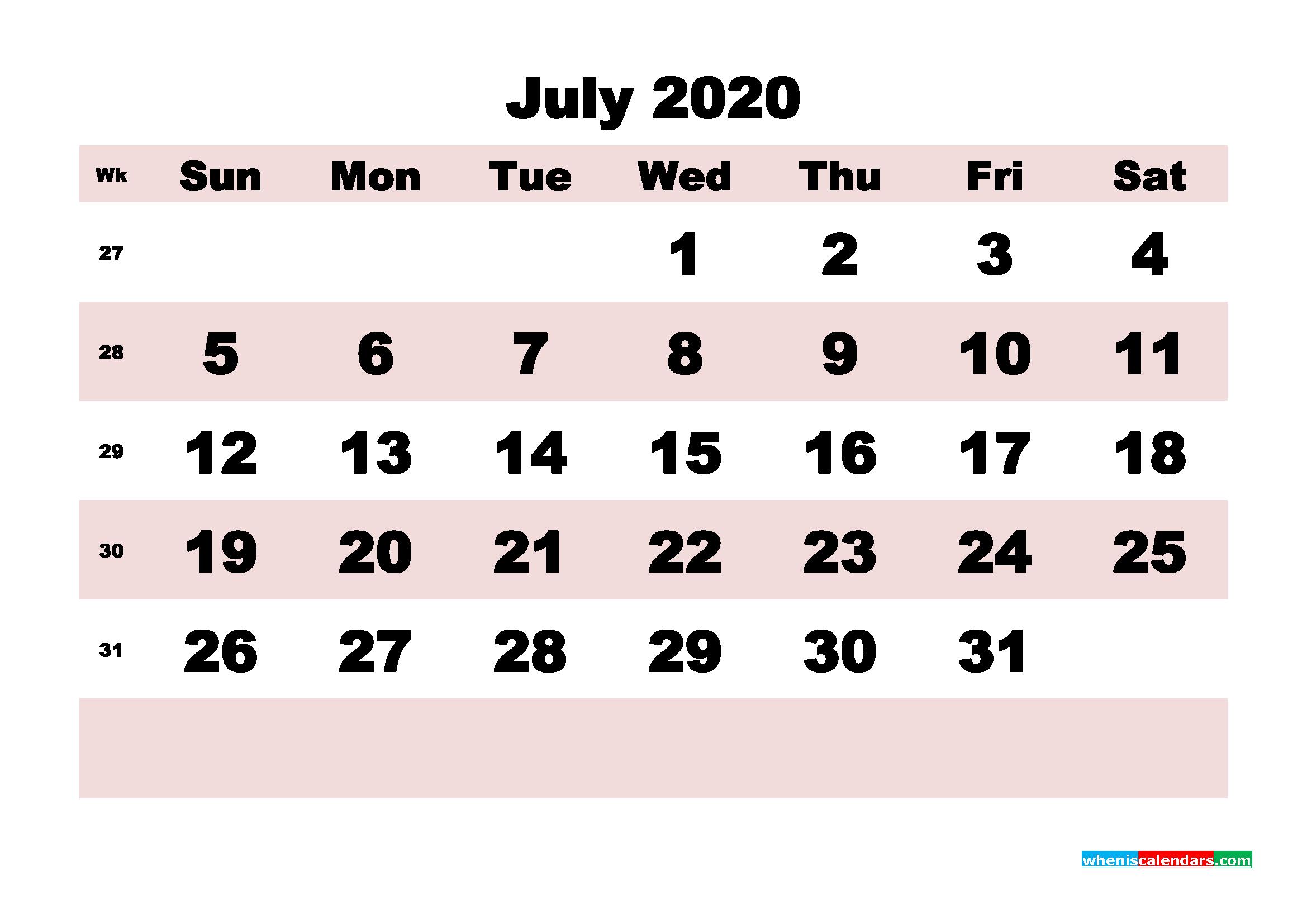 Free Printable July 2020 Calendar - No.m20b175
