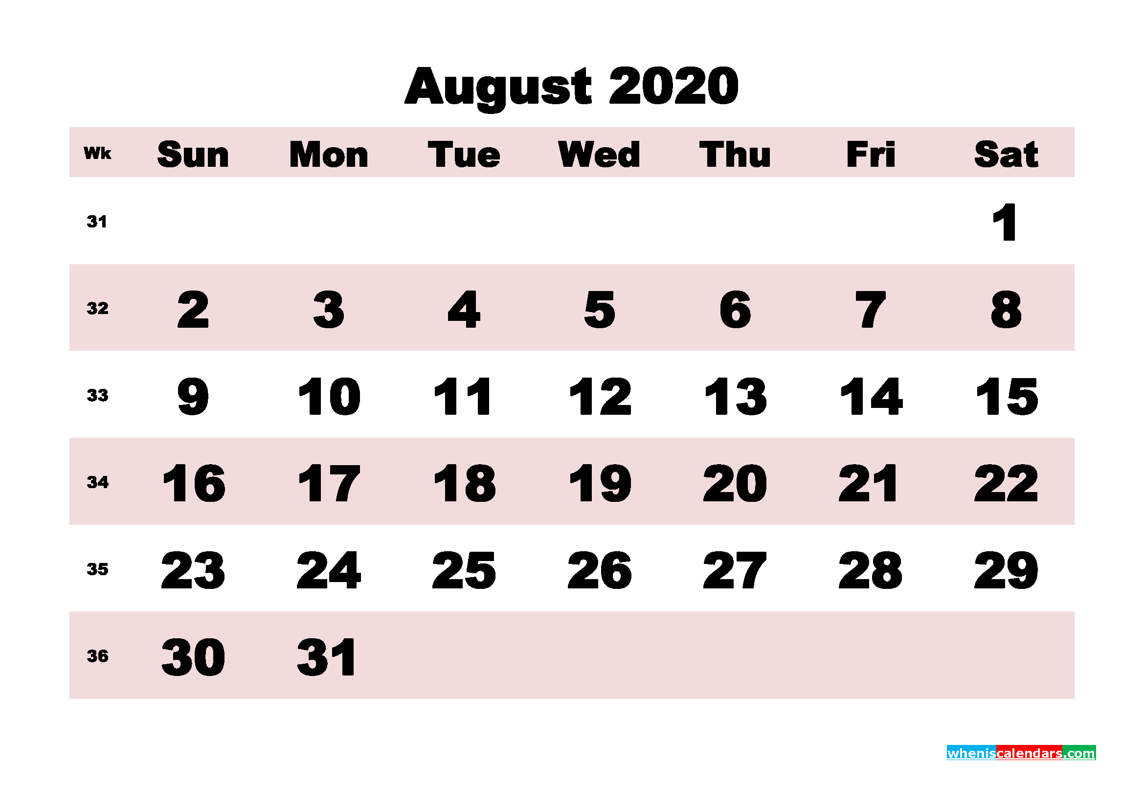Printable Monthly Calendar 2020 August with Week Numbers