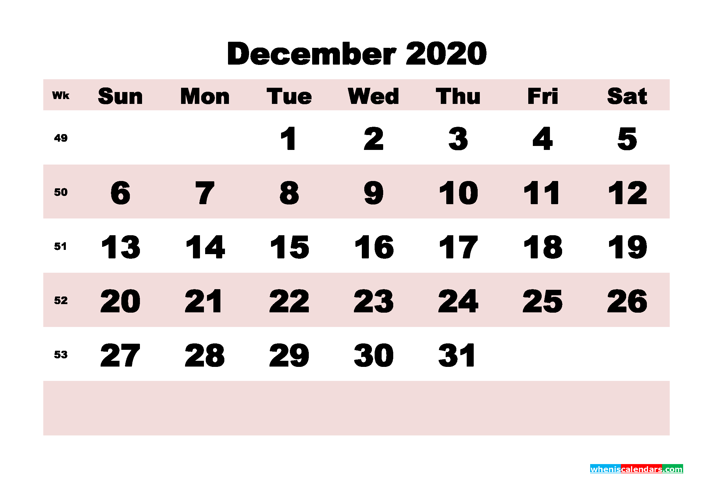 Printable Monthly Calendar 2020 December with Week Numbers