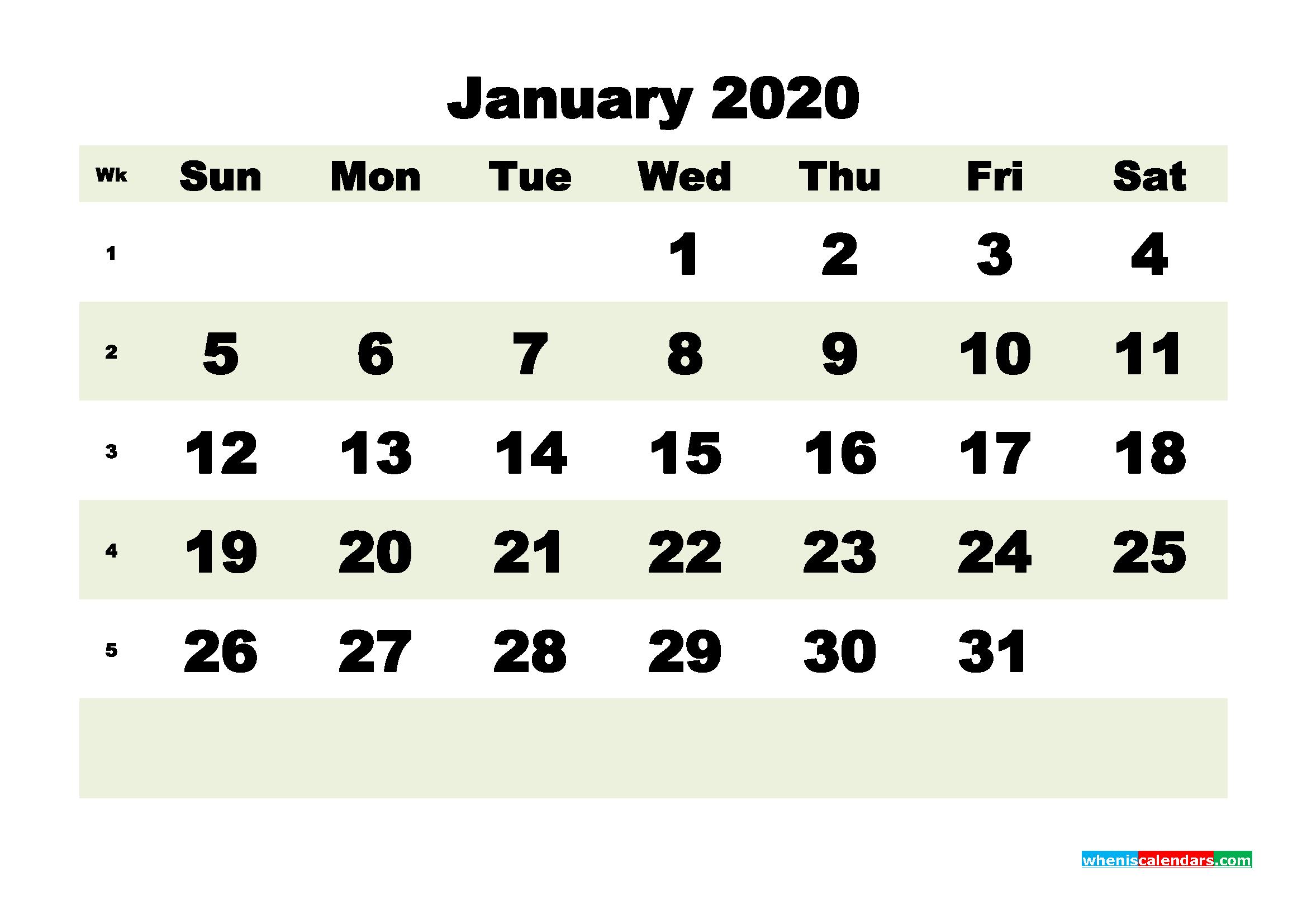 Free Blank Calendar January 2020 Printable - No.m20b181