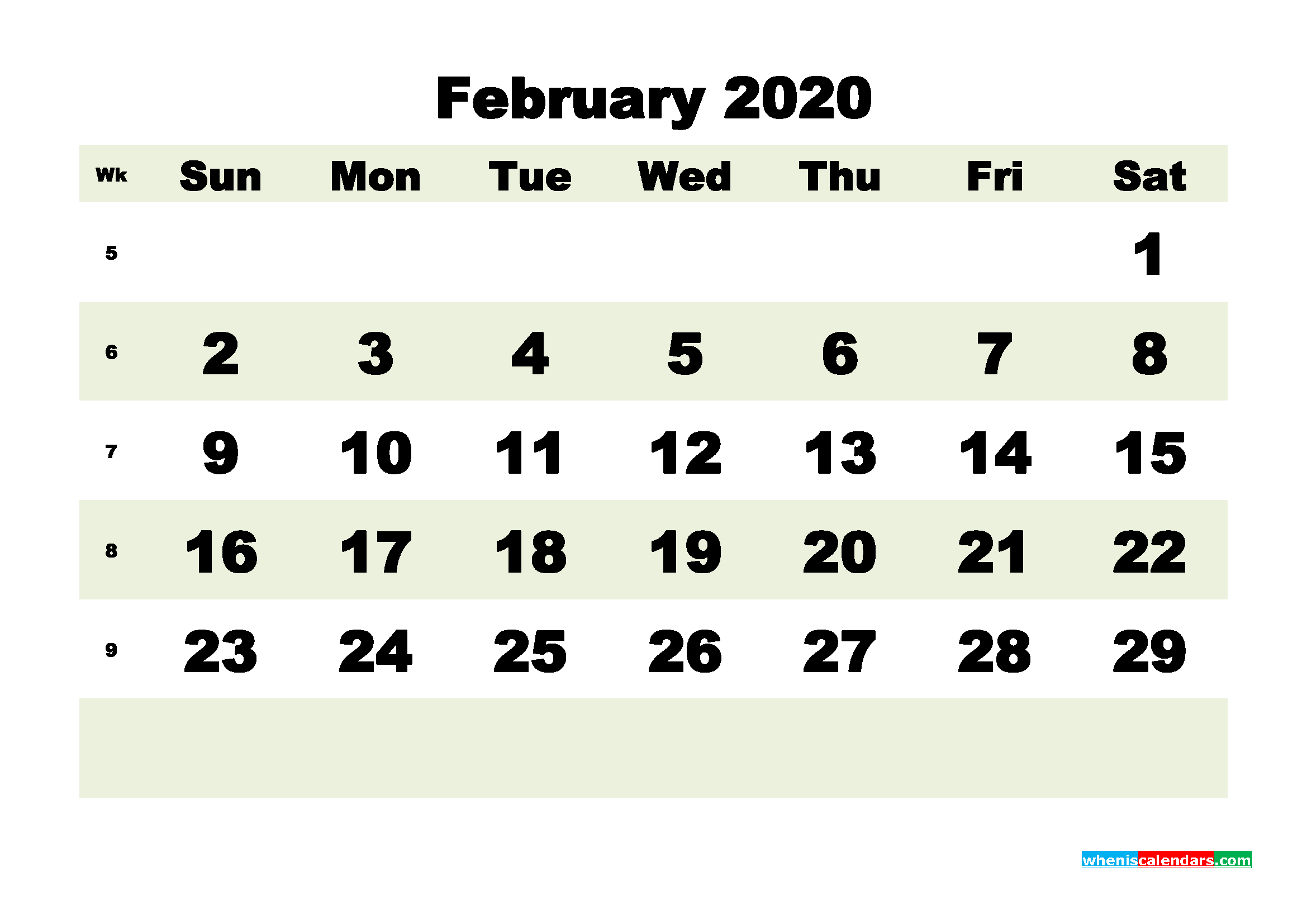Free Blank Calendar February 2020 Printable - No.m20b182