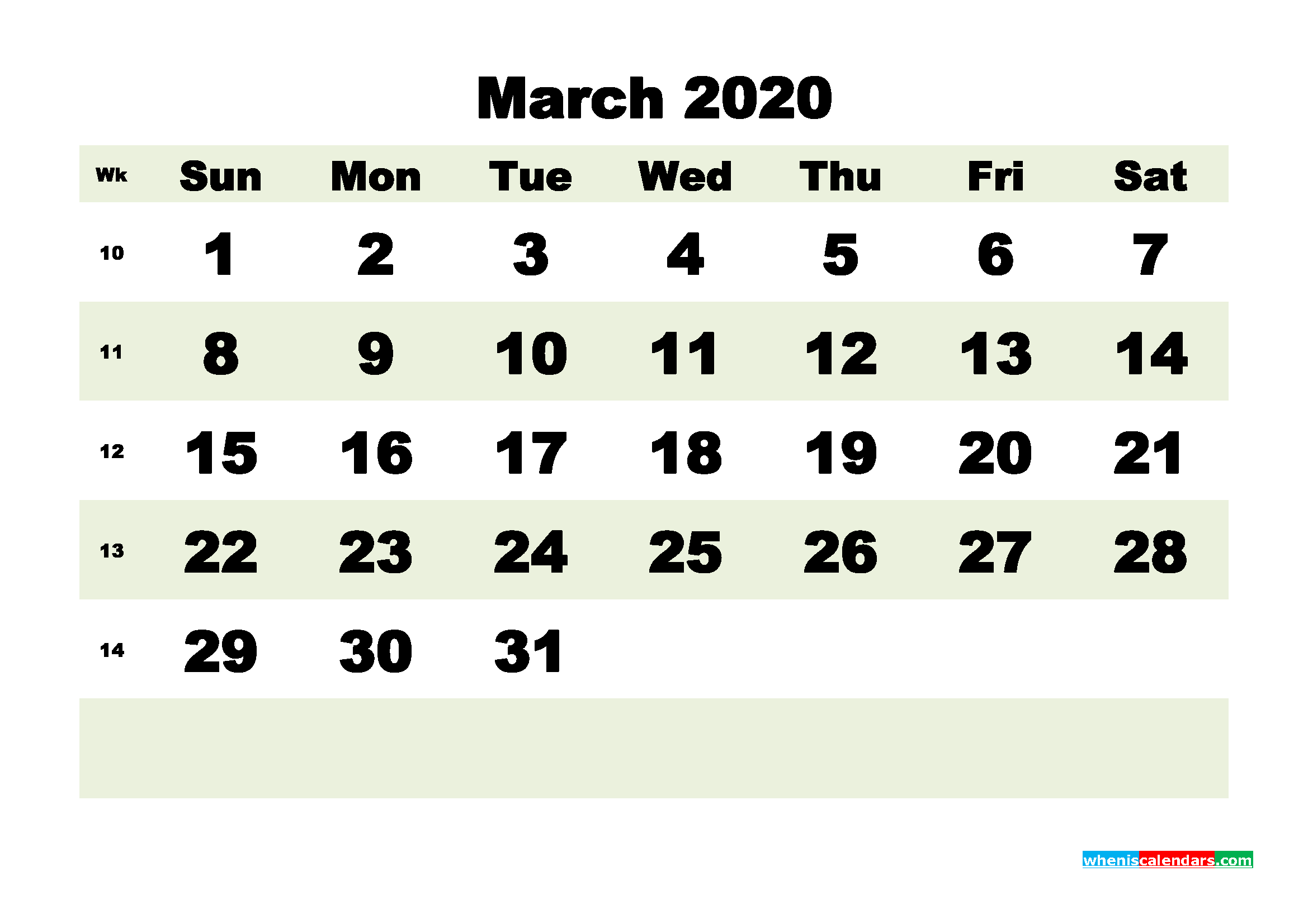 Free Blank Calendar March 2020 Printable - No.m20b183