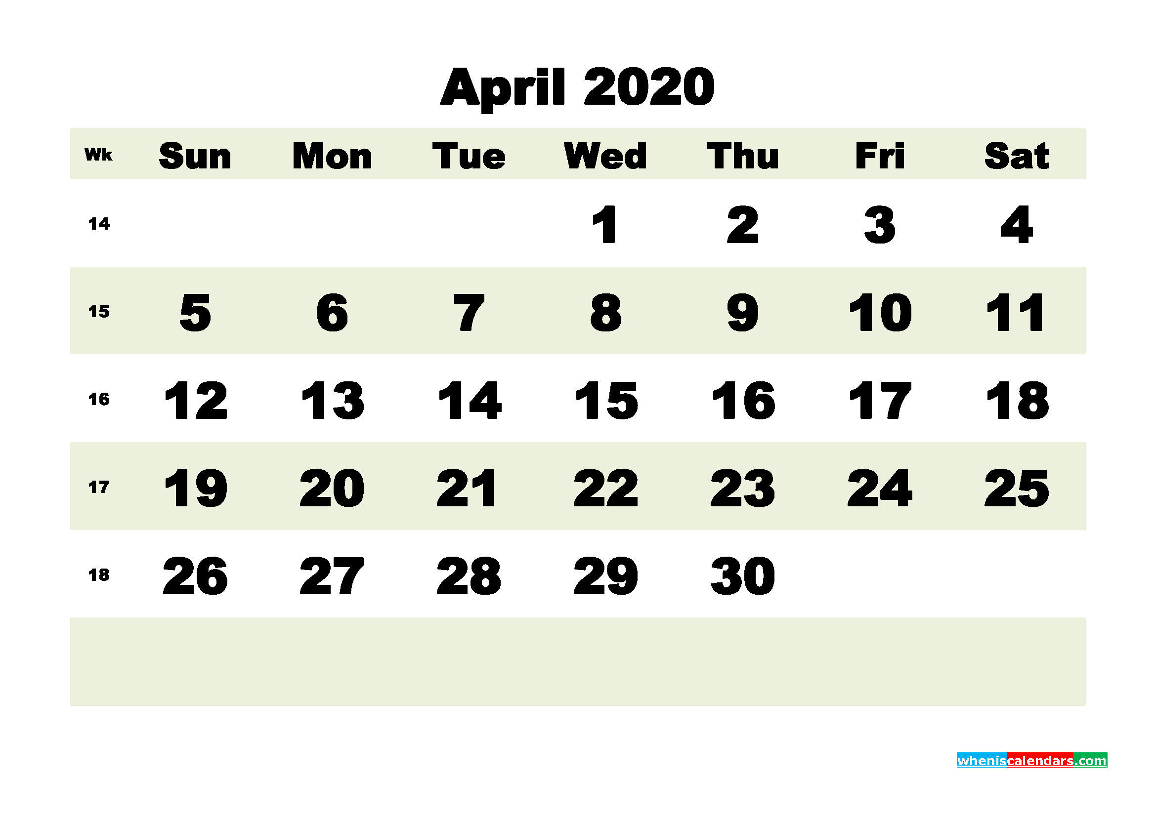Free Blank Calendar April 2020 Printable - No.m20b184