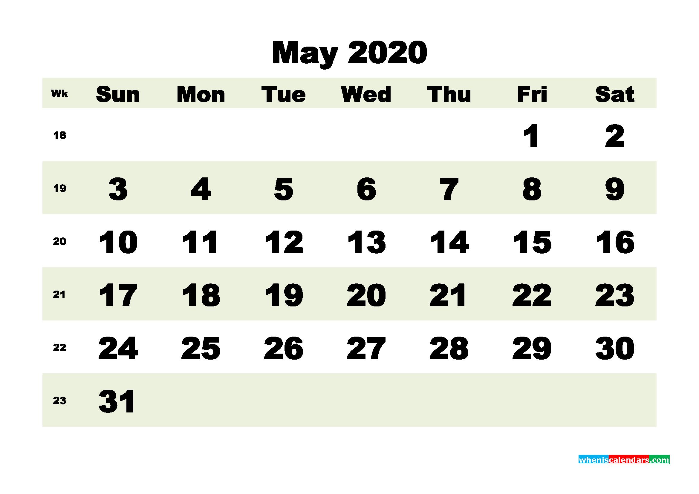 Free Blank Calendar May 2020 Printable - No.m20b185