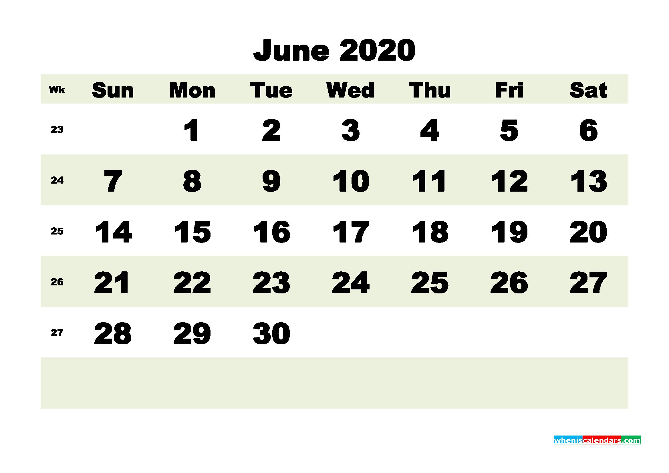 Free Blank Calendar June 2020 Printable - No.m20b186