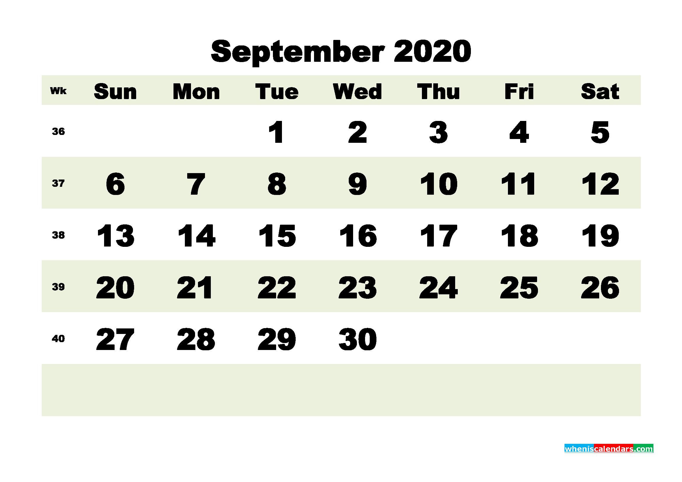 Free Blank Calendar September 2020 Printable - No.m20b189