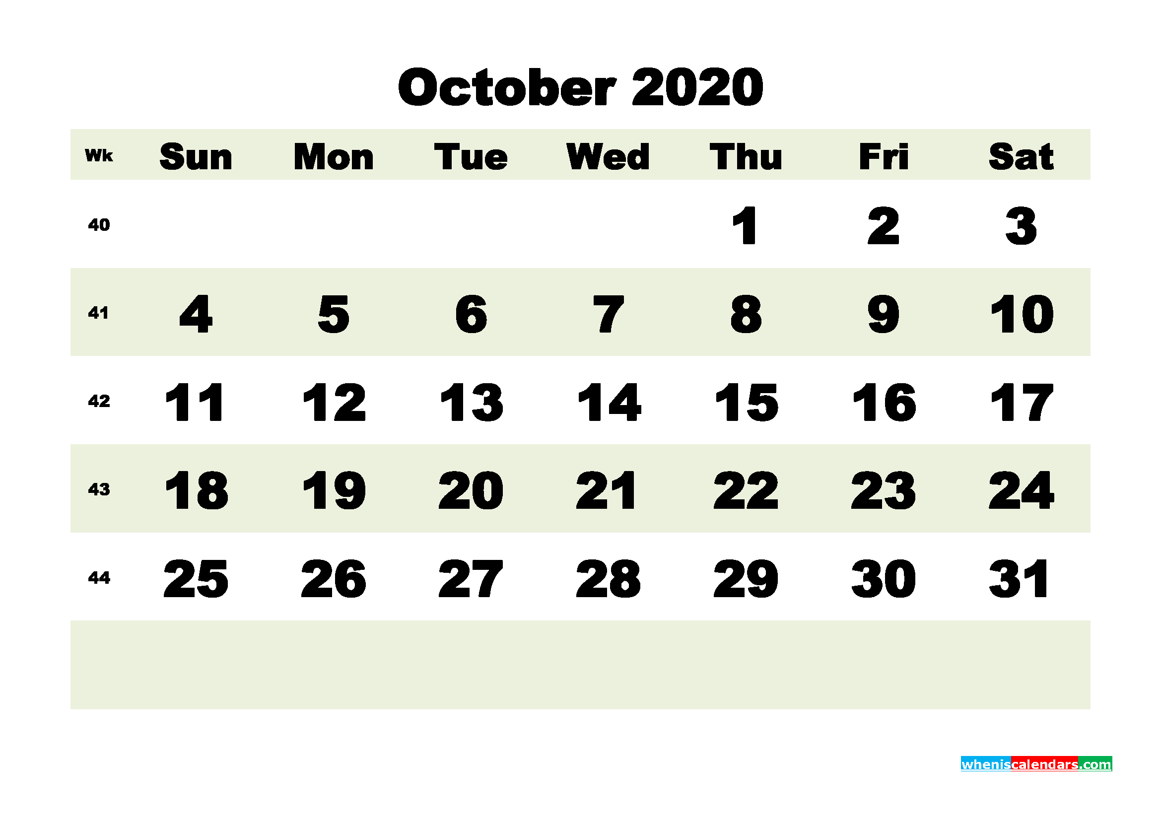 Free Blank Calendar October 2020 Printable - No.m20b190