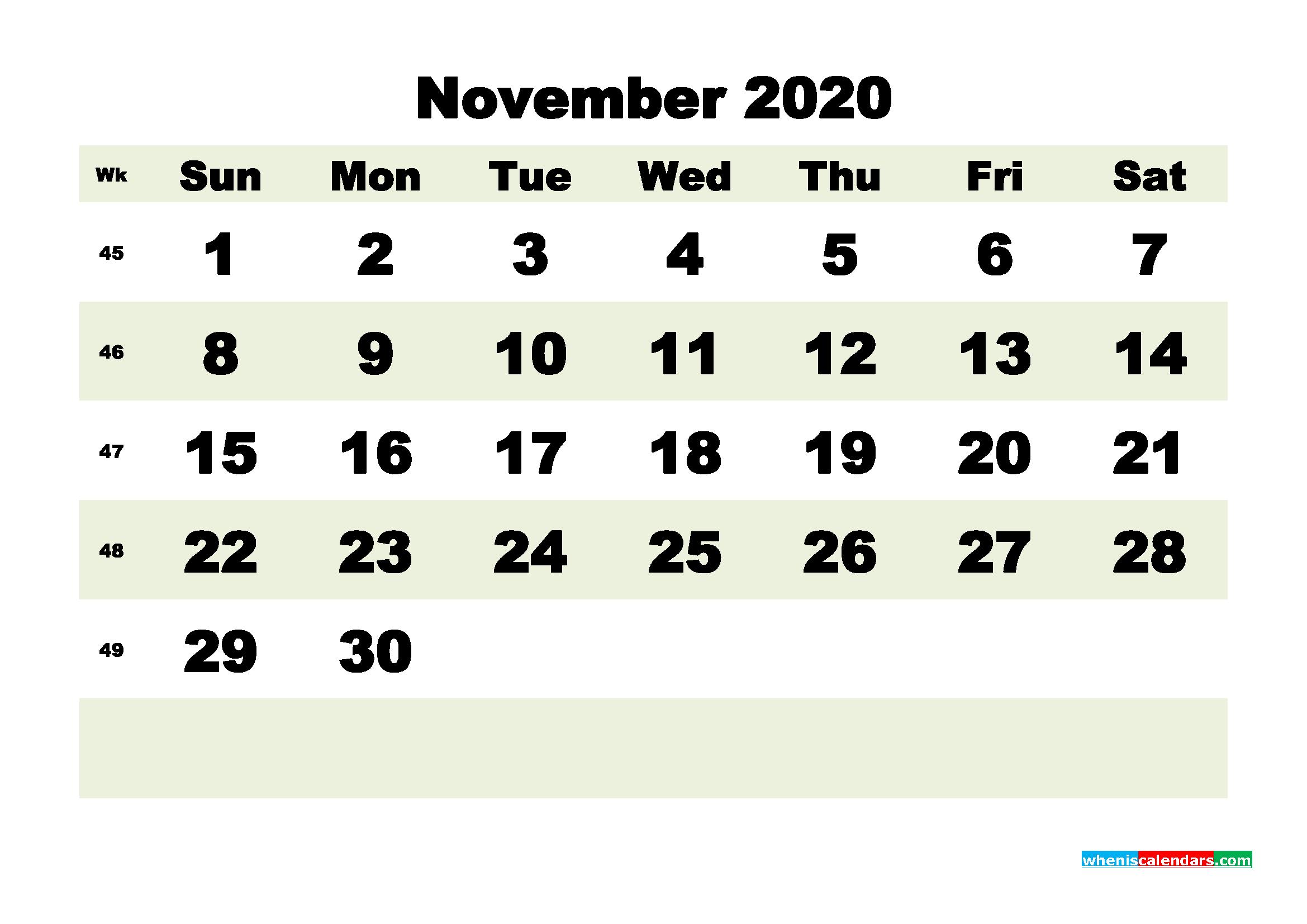 Free Blank Calendar November 2020 Printable - No.m20b191