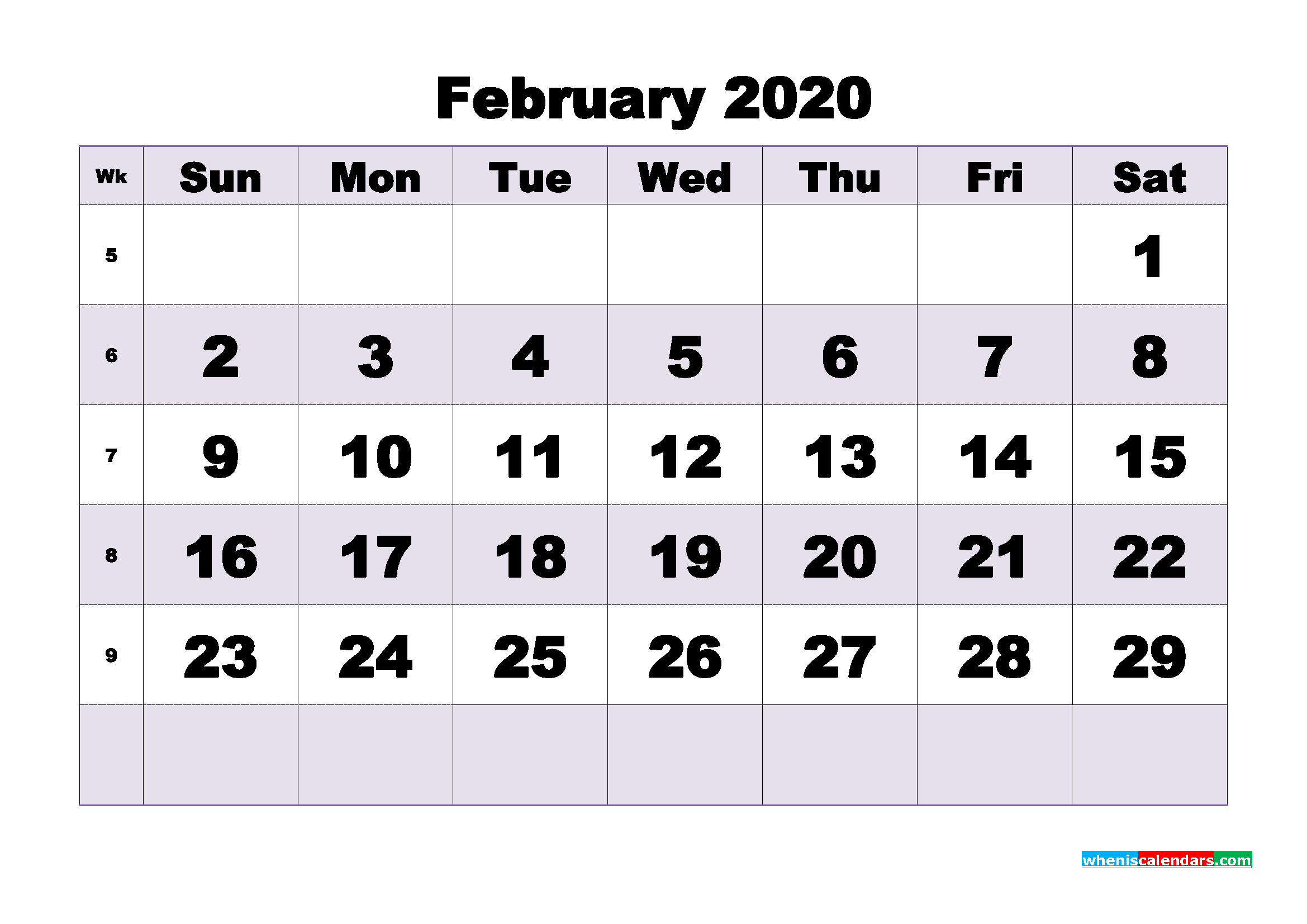 Monthly Printable Calendar 2020 February with Week Numbers