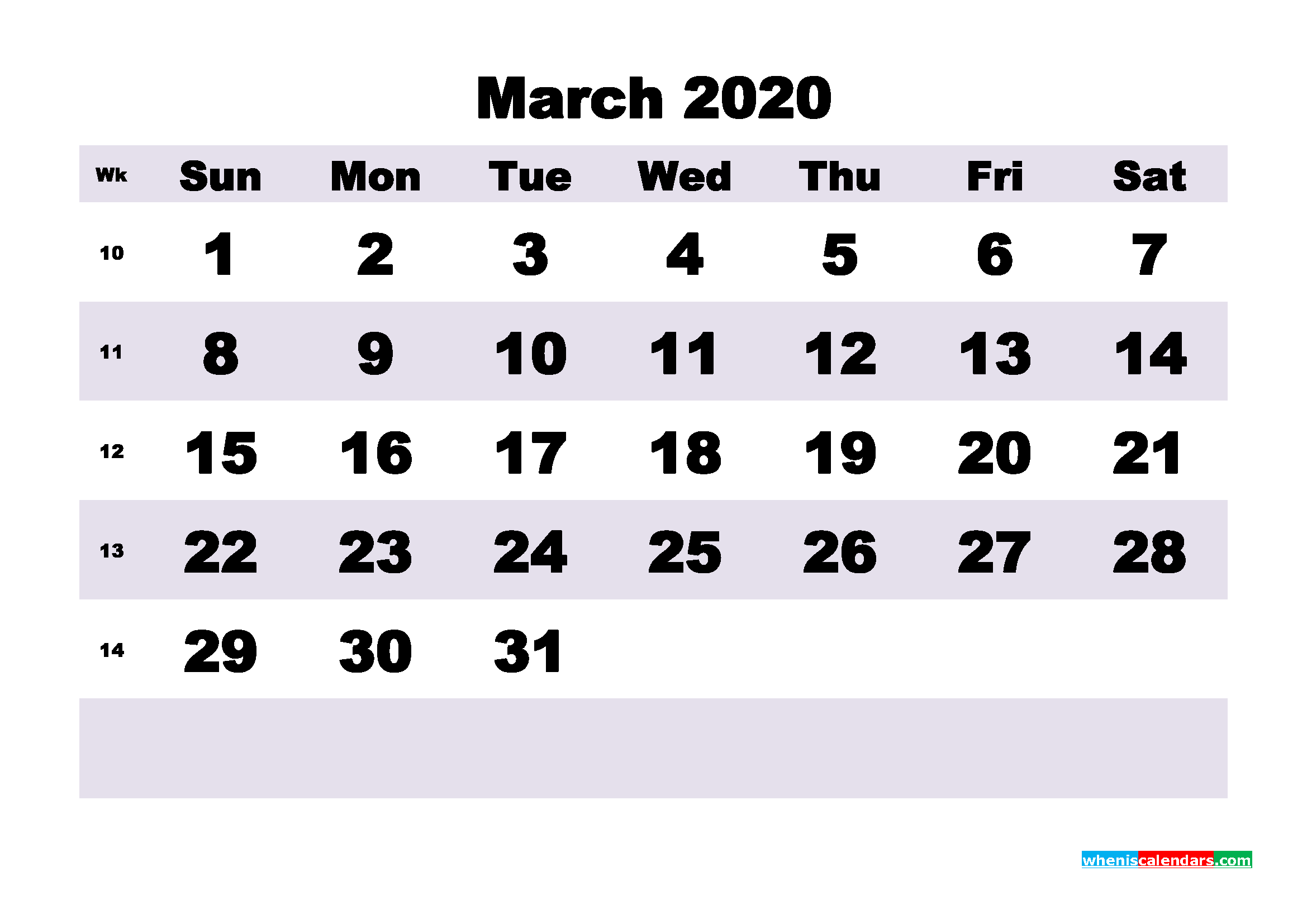 Blank March 2020 Calendar Printable - No.m20b195