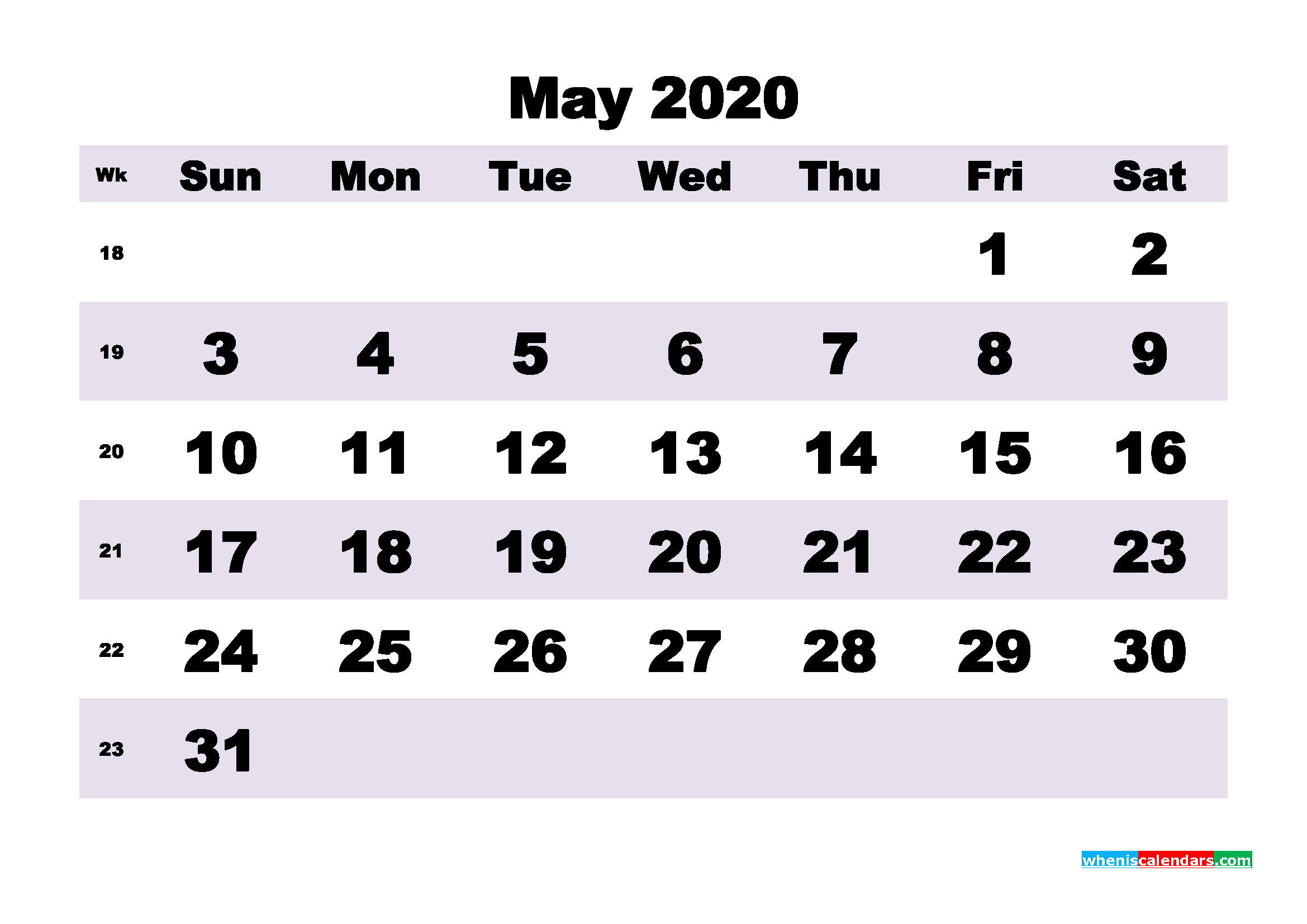 Blank May 2020 Calendar Printable - No.m20b197