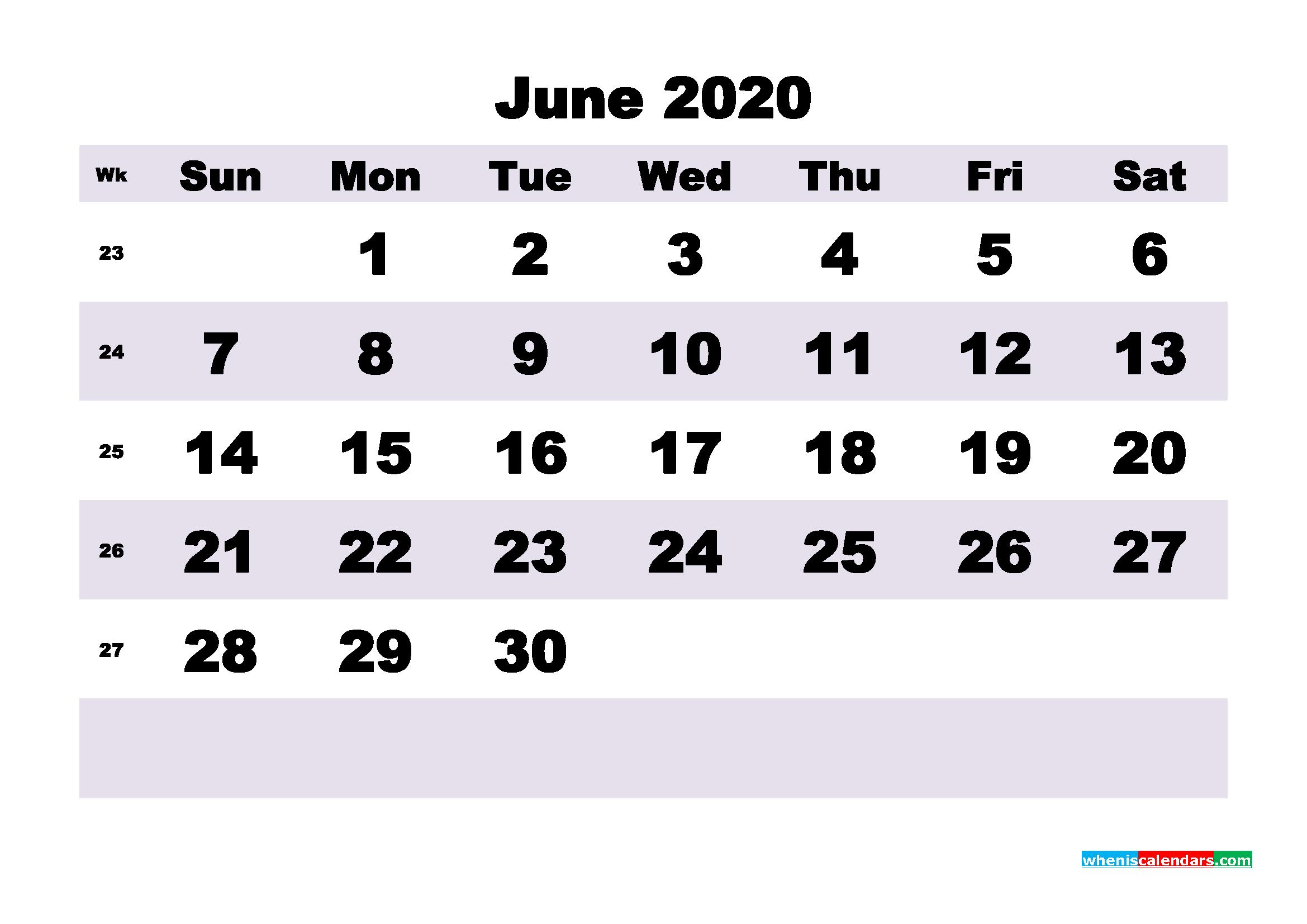 Blank June 2020 Calendar Printable - No.m20b198