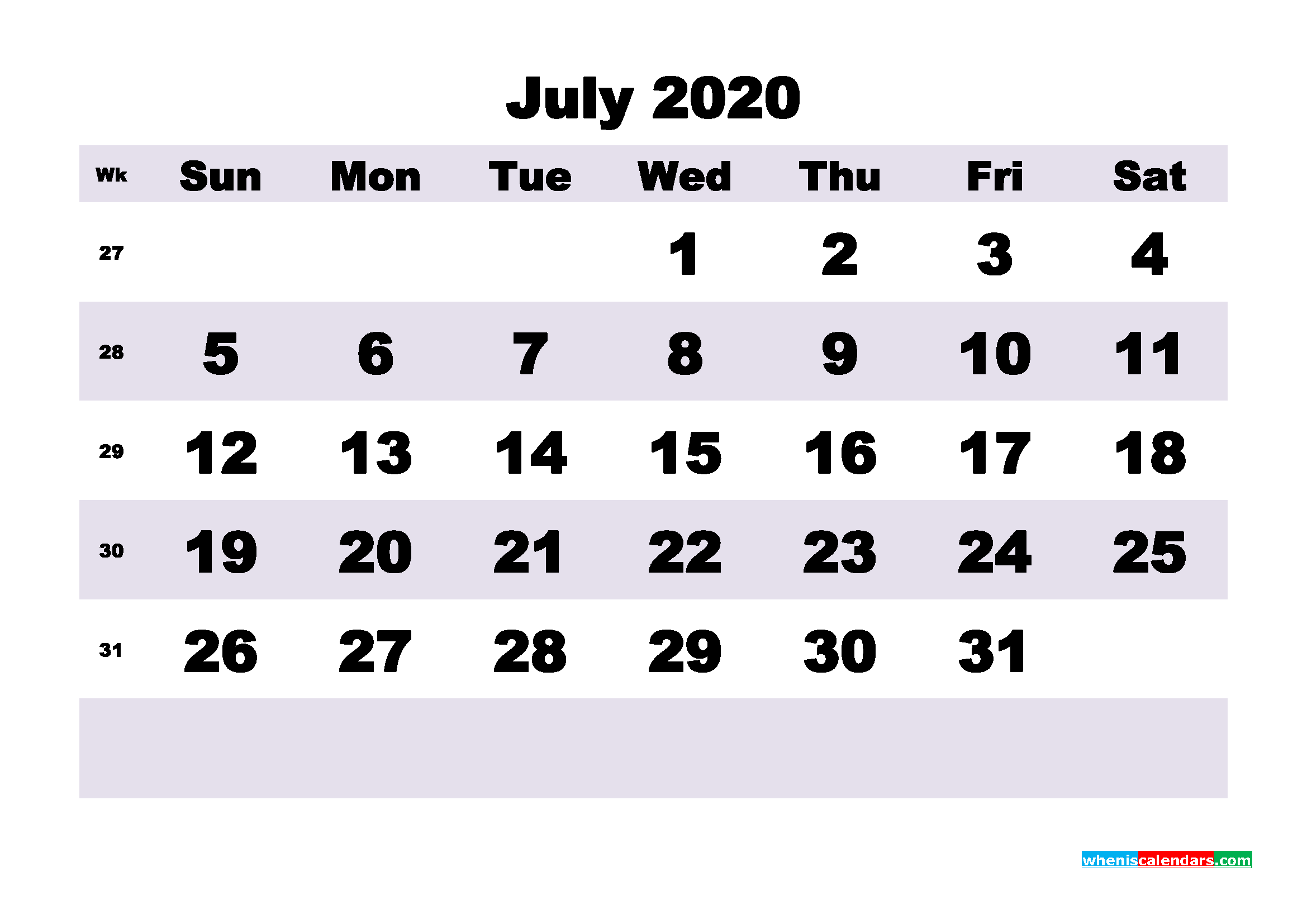 Monthly Printable Calendar 2020 July with Week Numbers