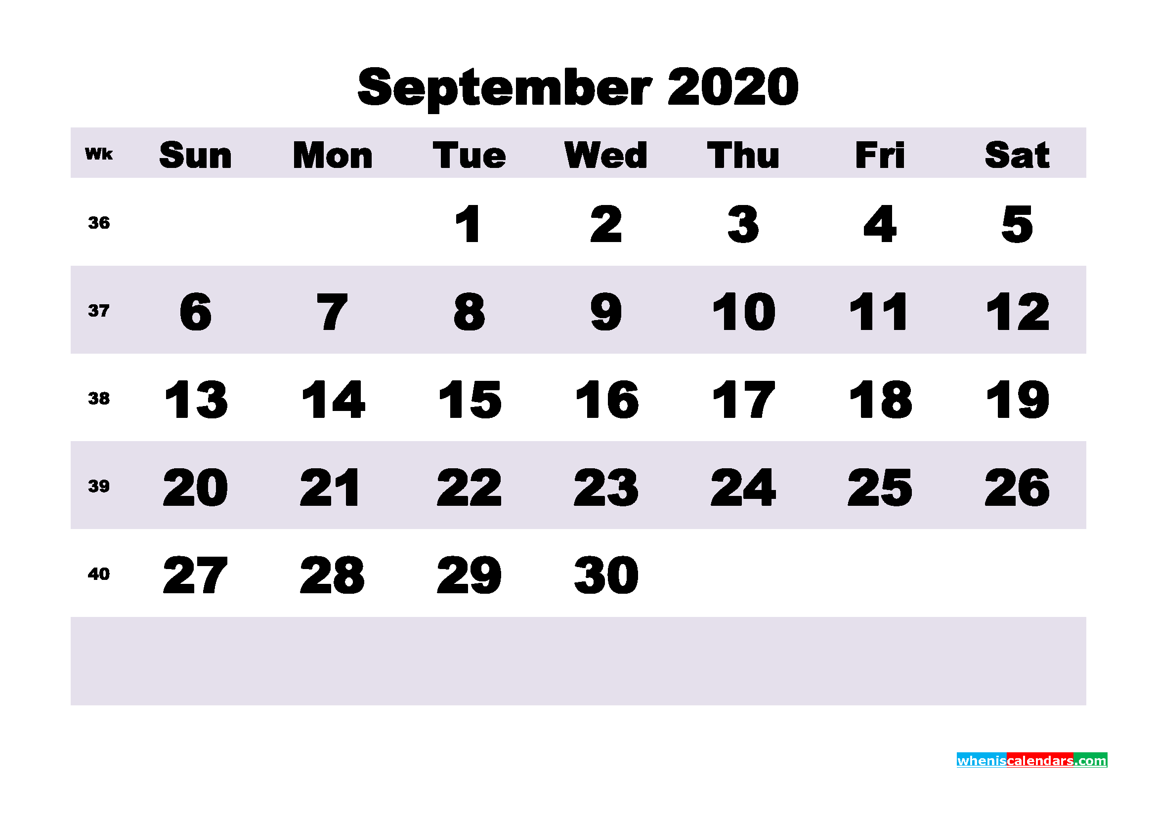 Blank September 2020 Calendar Printable - No.m20b201