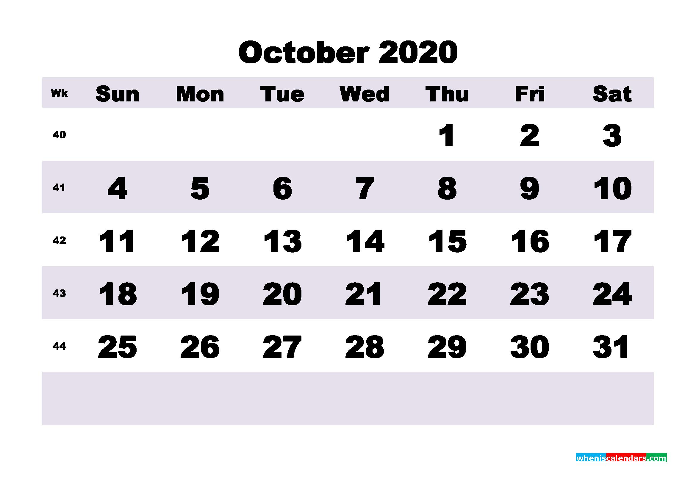 Blank October 2020 Calendar Printable - No.m20b202