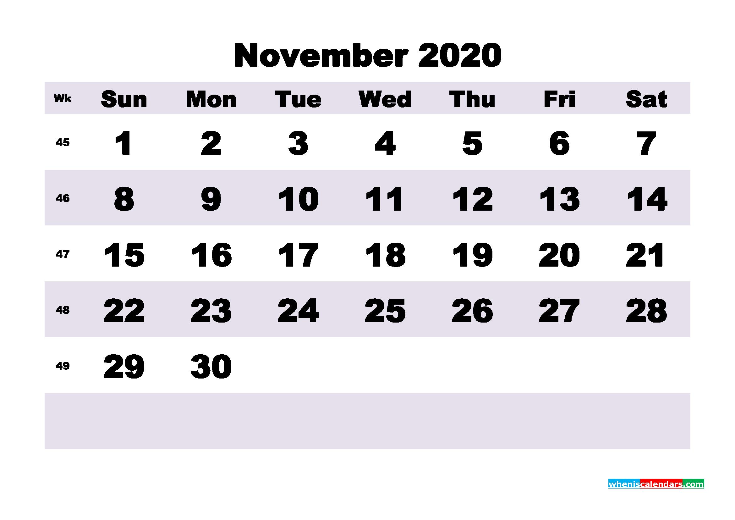 Blank November 2020 Calendar Printable - No.m20b203