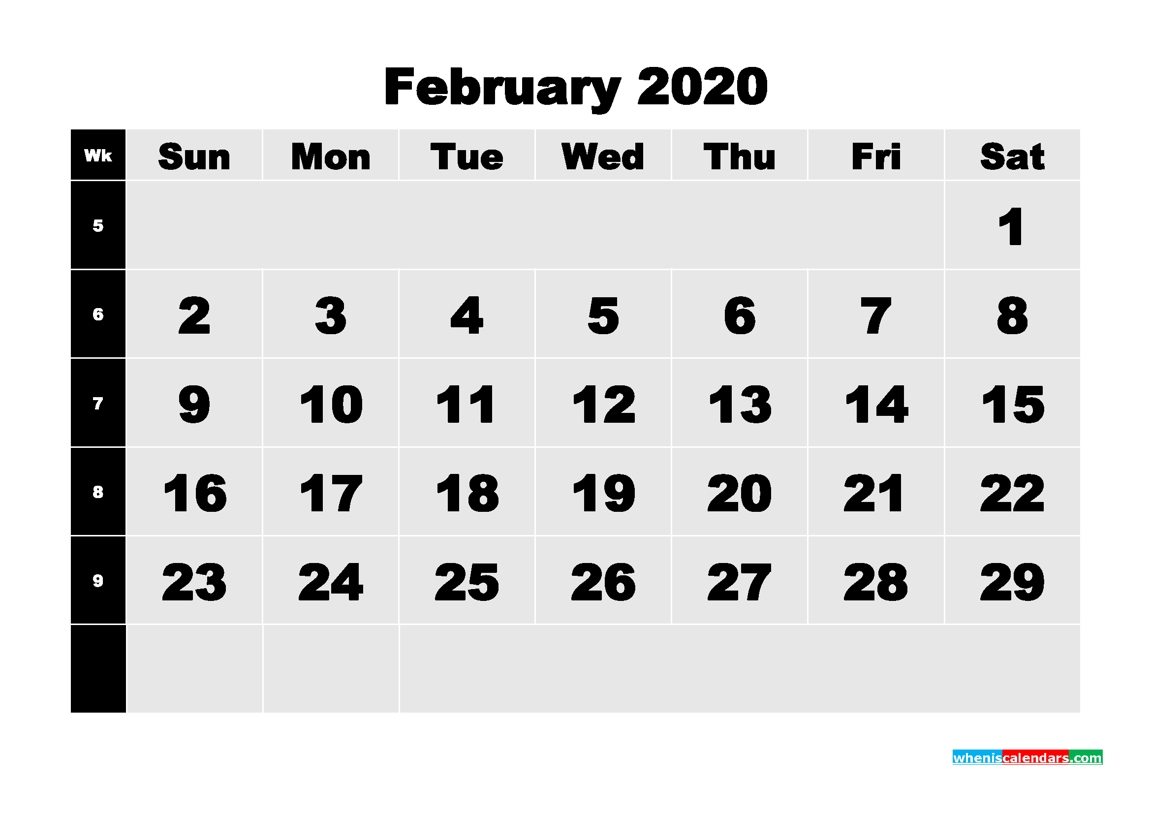 February 2020 Blank Calendar Printable - No.m20b206