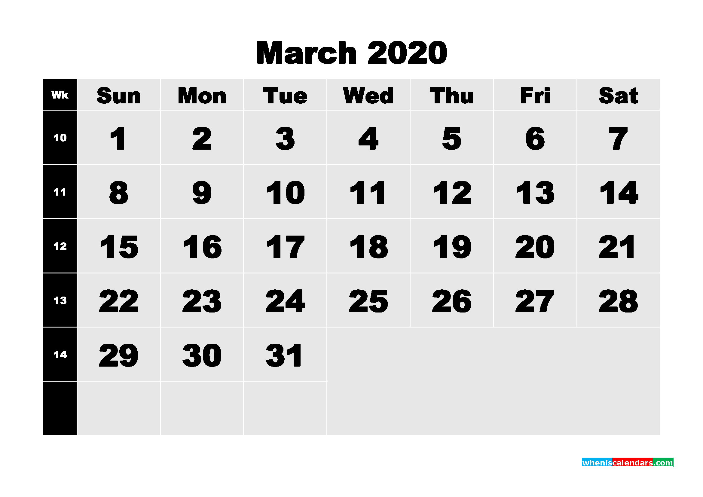 March 2020 Blank Calendar Printable - No.m20b207