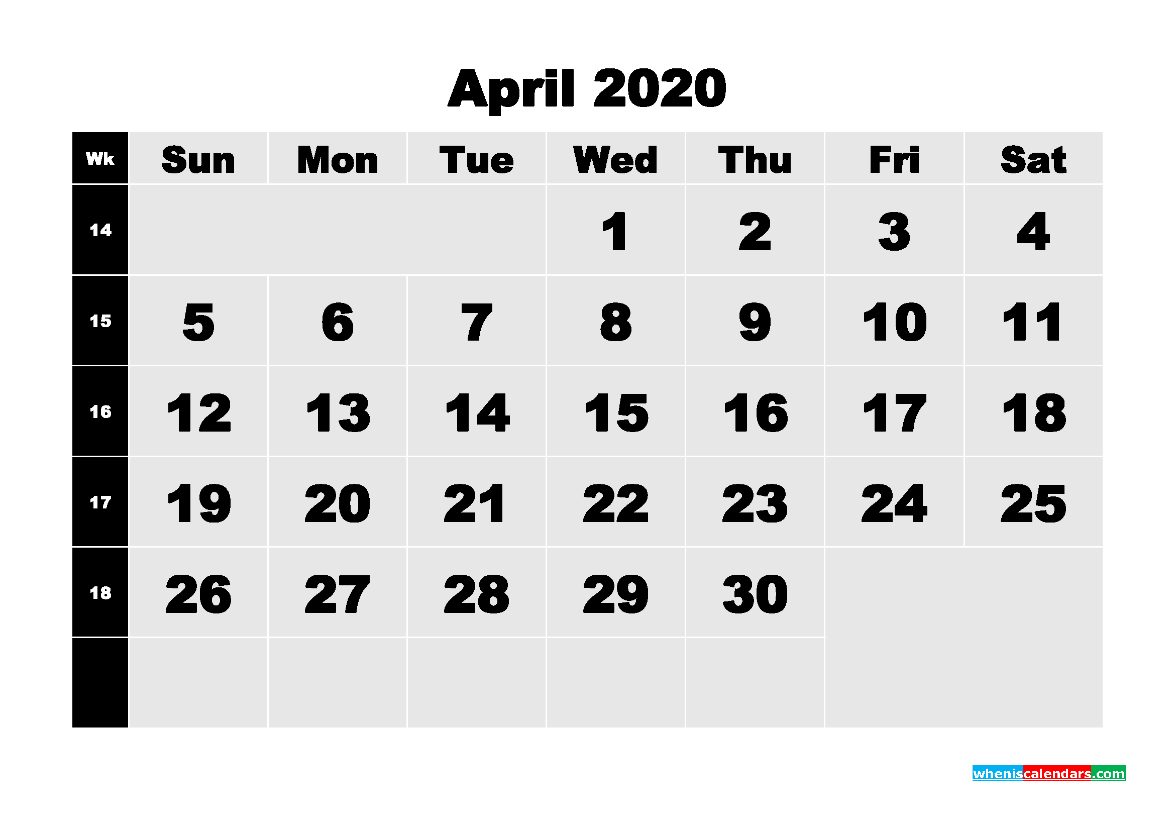 April 2020 Blank Calendar Printable - No.m20b208
