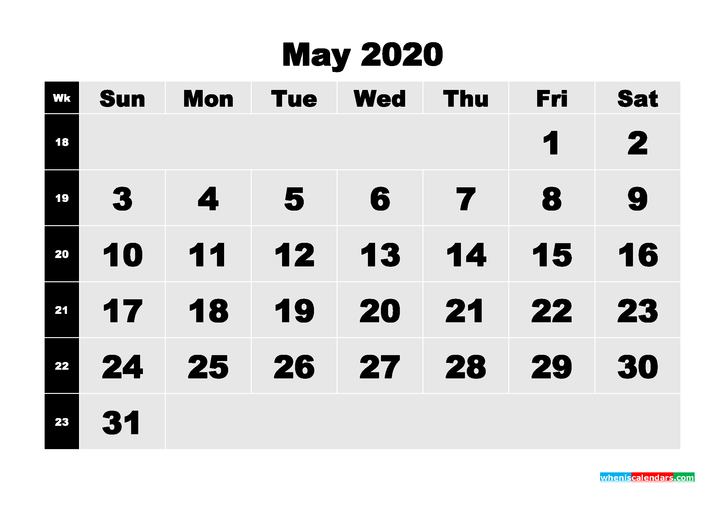 Blank Calendar May 2020 Printable Word, PDF, PNG