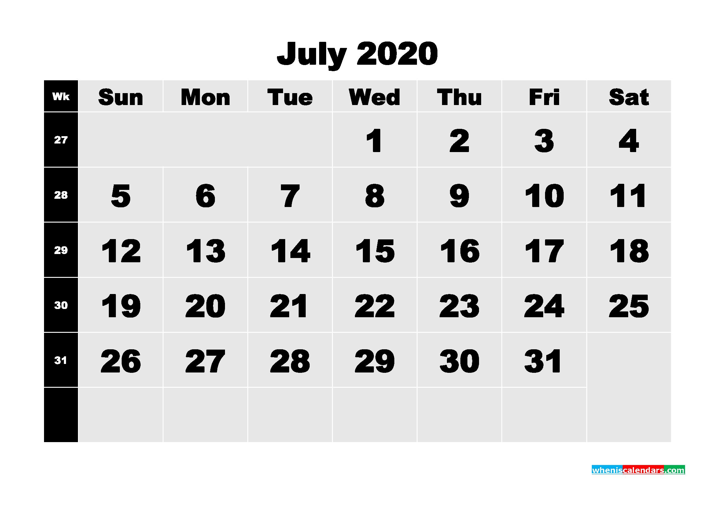 July 2020 Blank Calendar Printable - No.m20b211