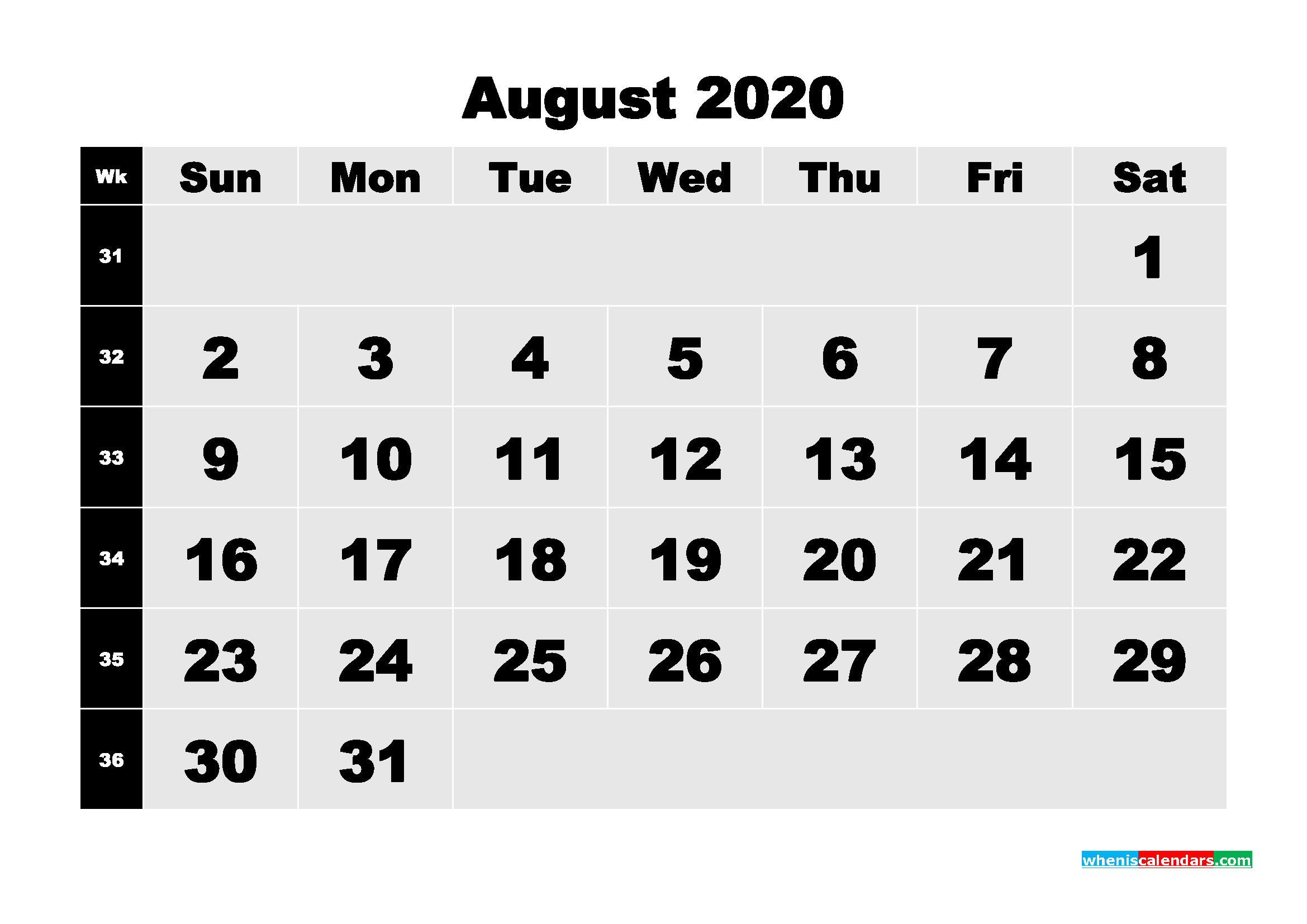 Printable 2020 Monthly Calendar with Week Numbers August