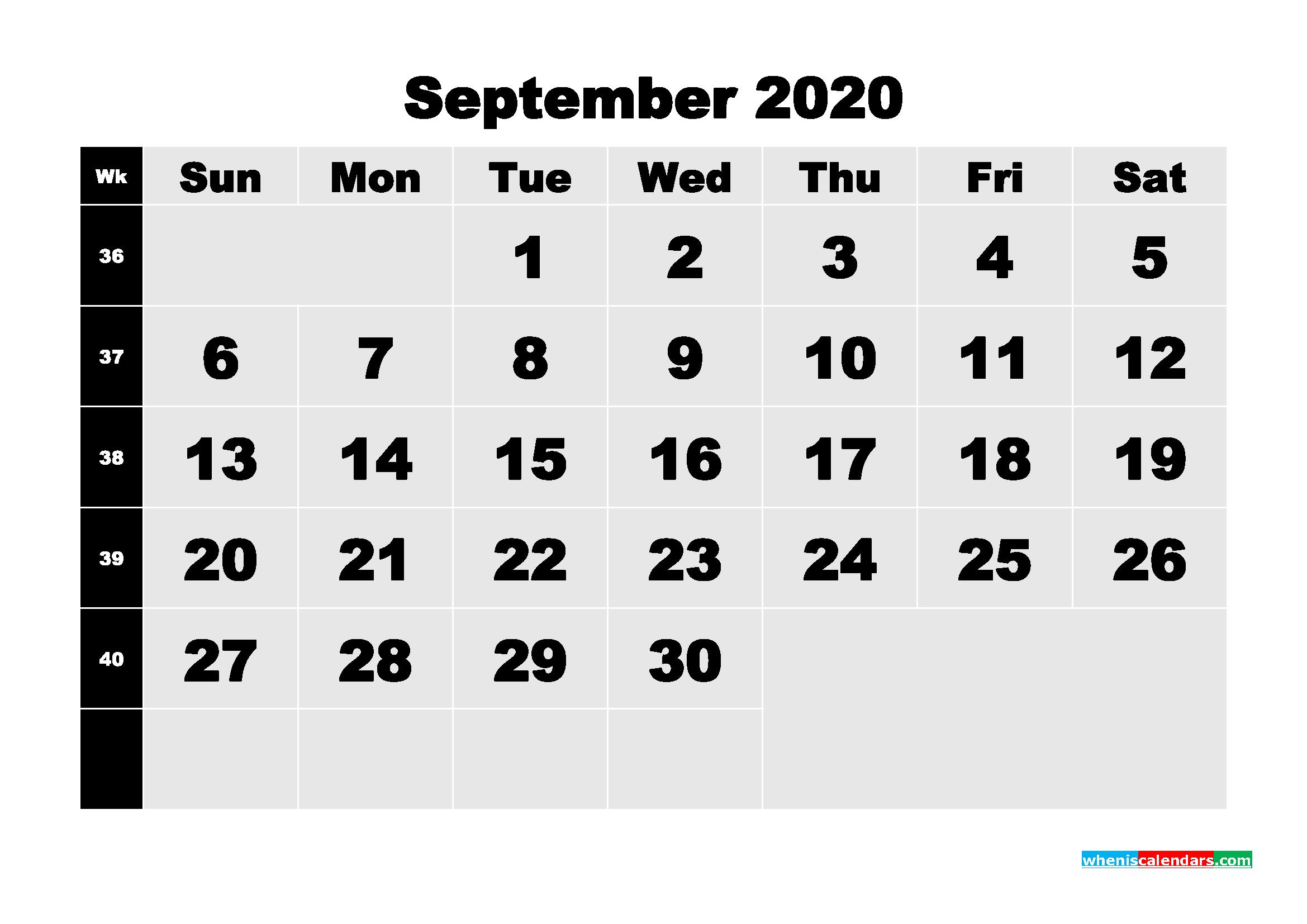 September 2020 Blank Calendar Printable - No.m20b213