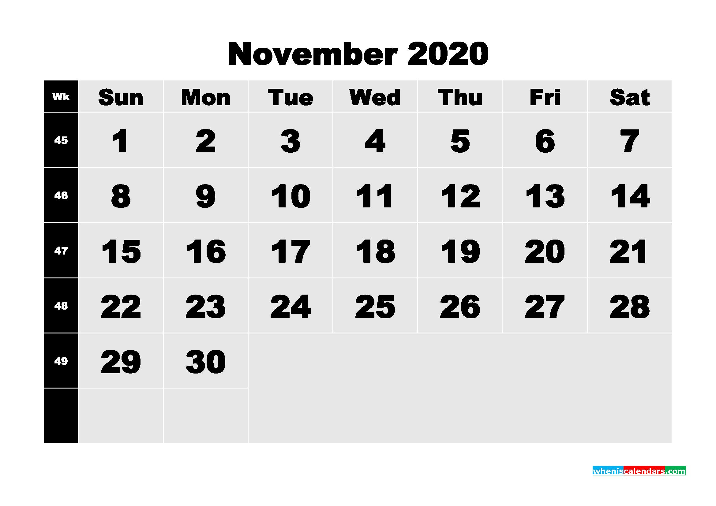November 2020 Blank Calendar Printable - No.m20b215