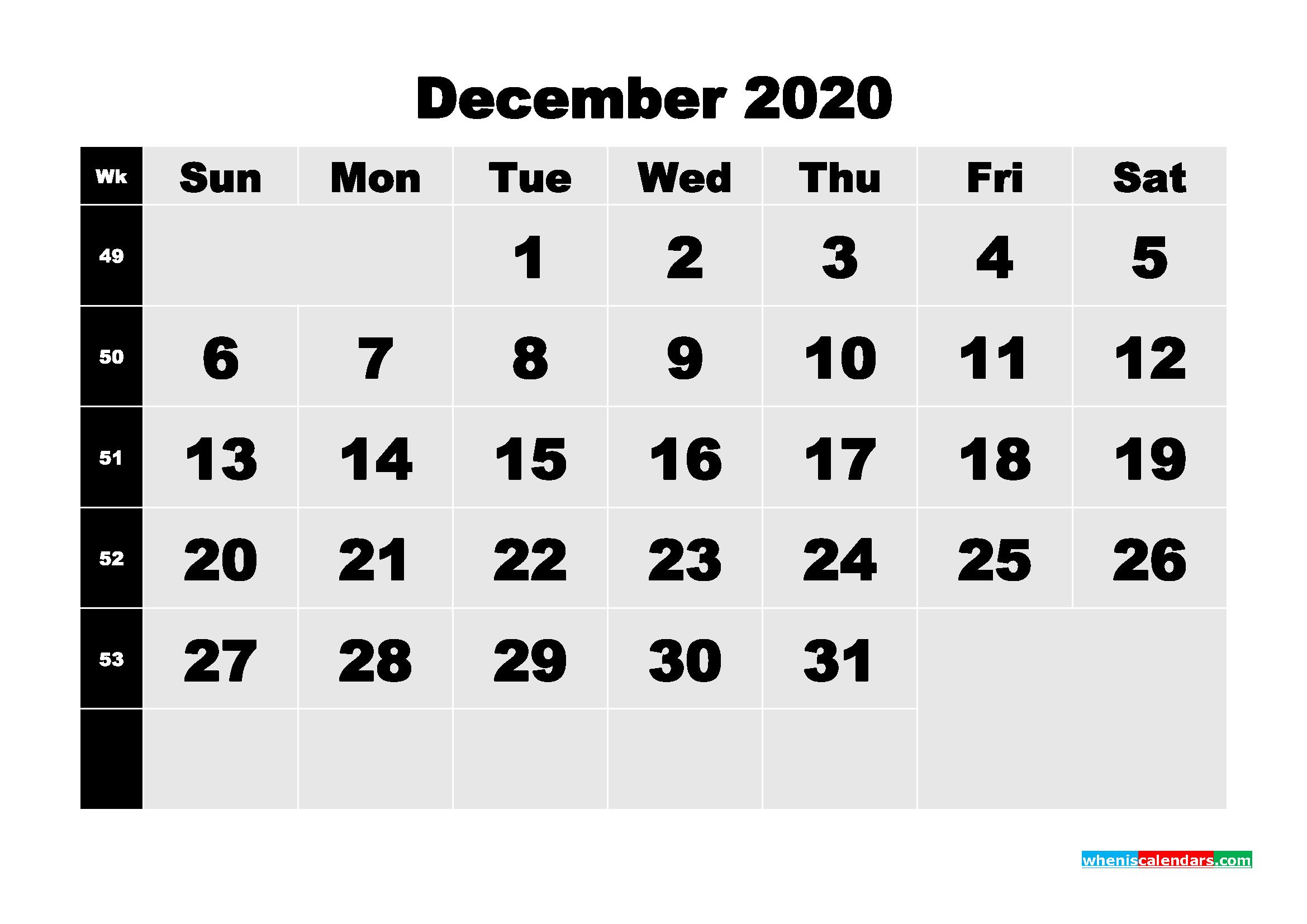 Printable 2020 Monthly Calendar with Week Numbers December ...