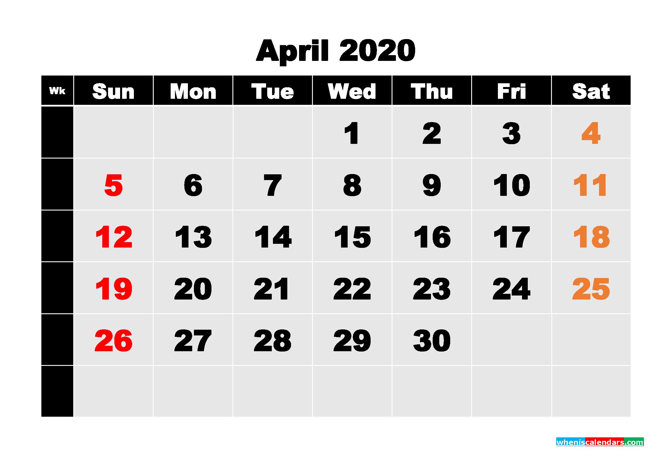 Free Printable Calendar April 2020 PDF, Word - No.m20b220