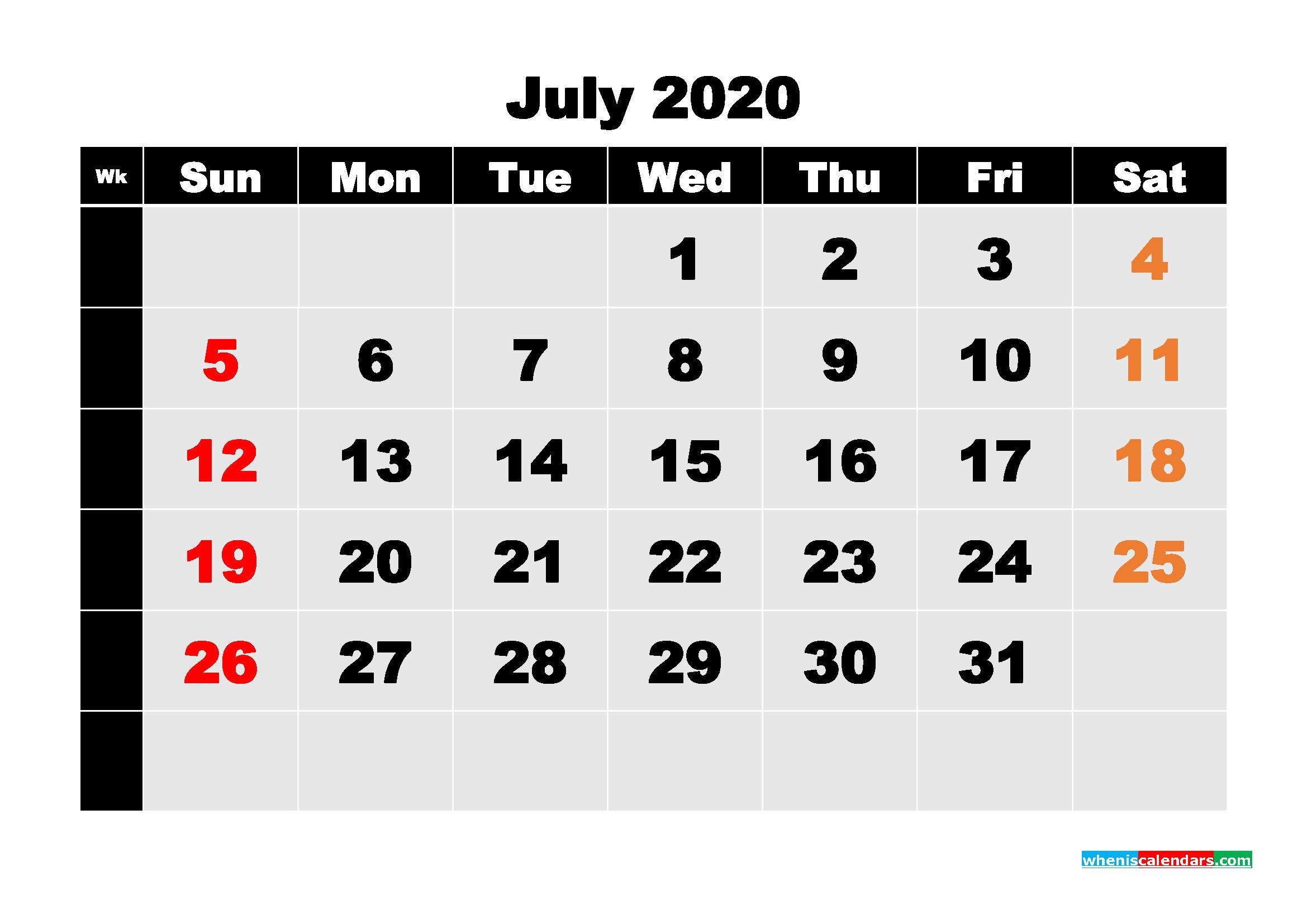 Free Printable Calendar July 2020 PDF, Word - No.m20b223