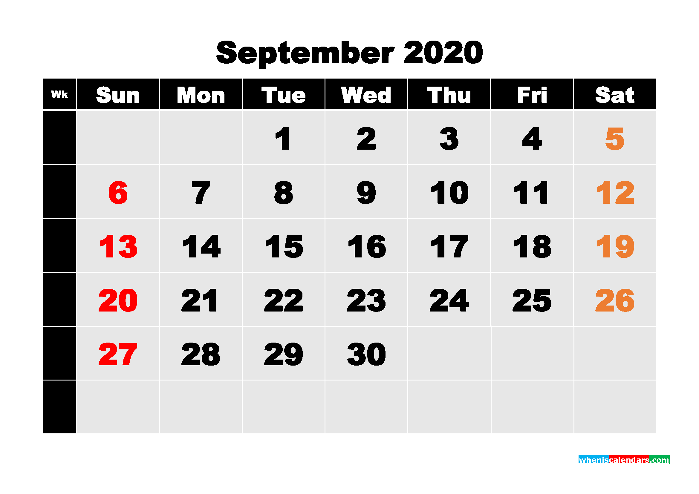 Printable 2020 Monthly Calendar with Week Numbers September