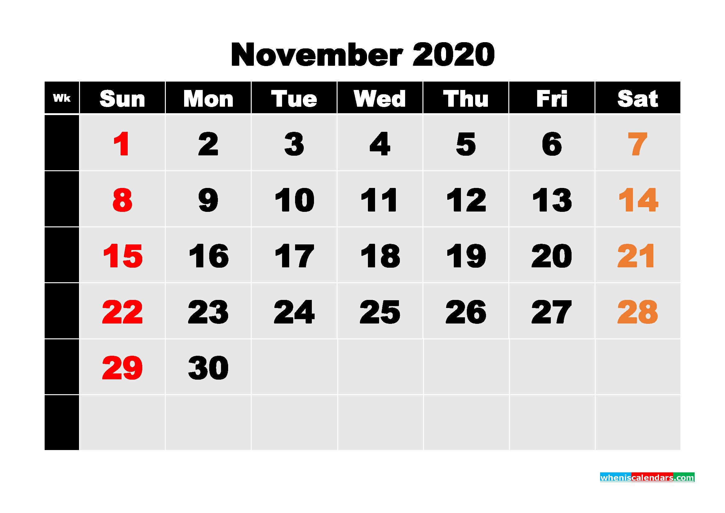 Free Printable Calendar November 2020 PDF, Word - No.m20b227