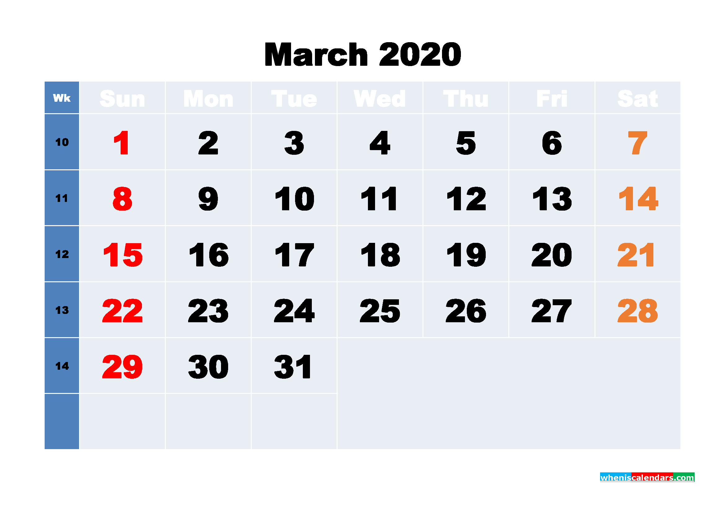 March Printable Calendar 2020 PDF, Word - No.m20b231