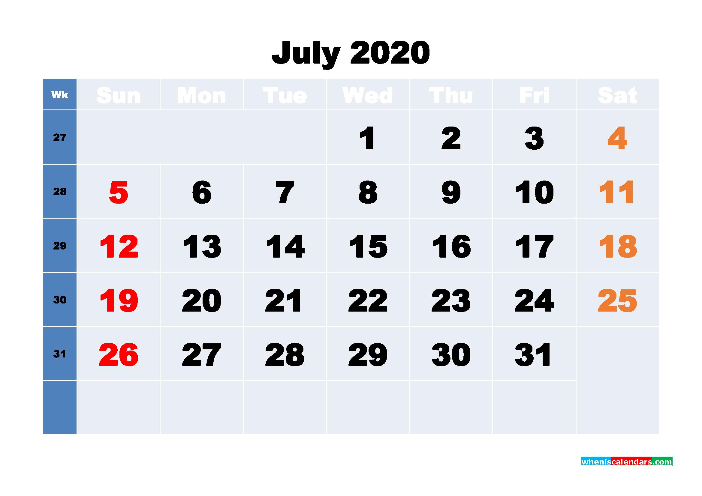 July Printable Calendar 2020 PDF, Word - No.m20b235