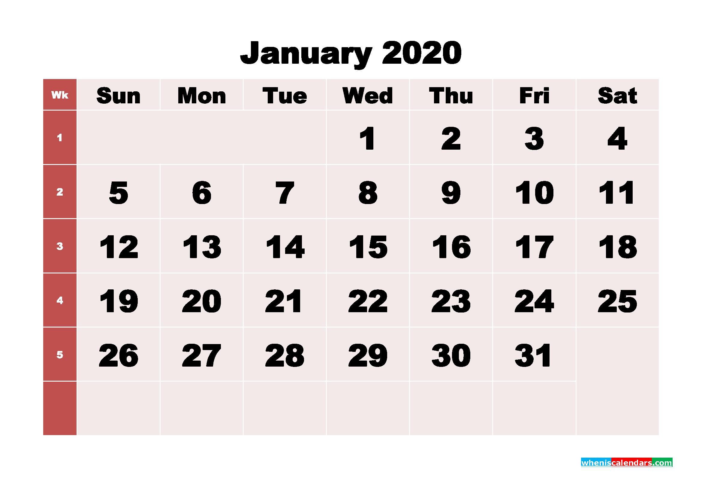 Free Printable January 2020 Calendar - No.m20b241