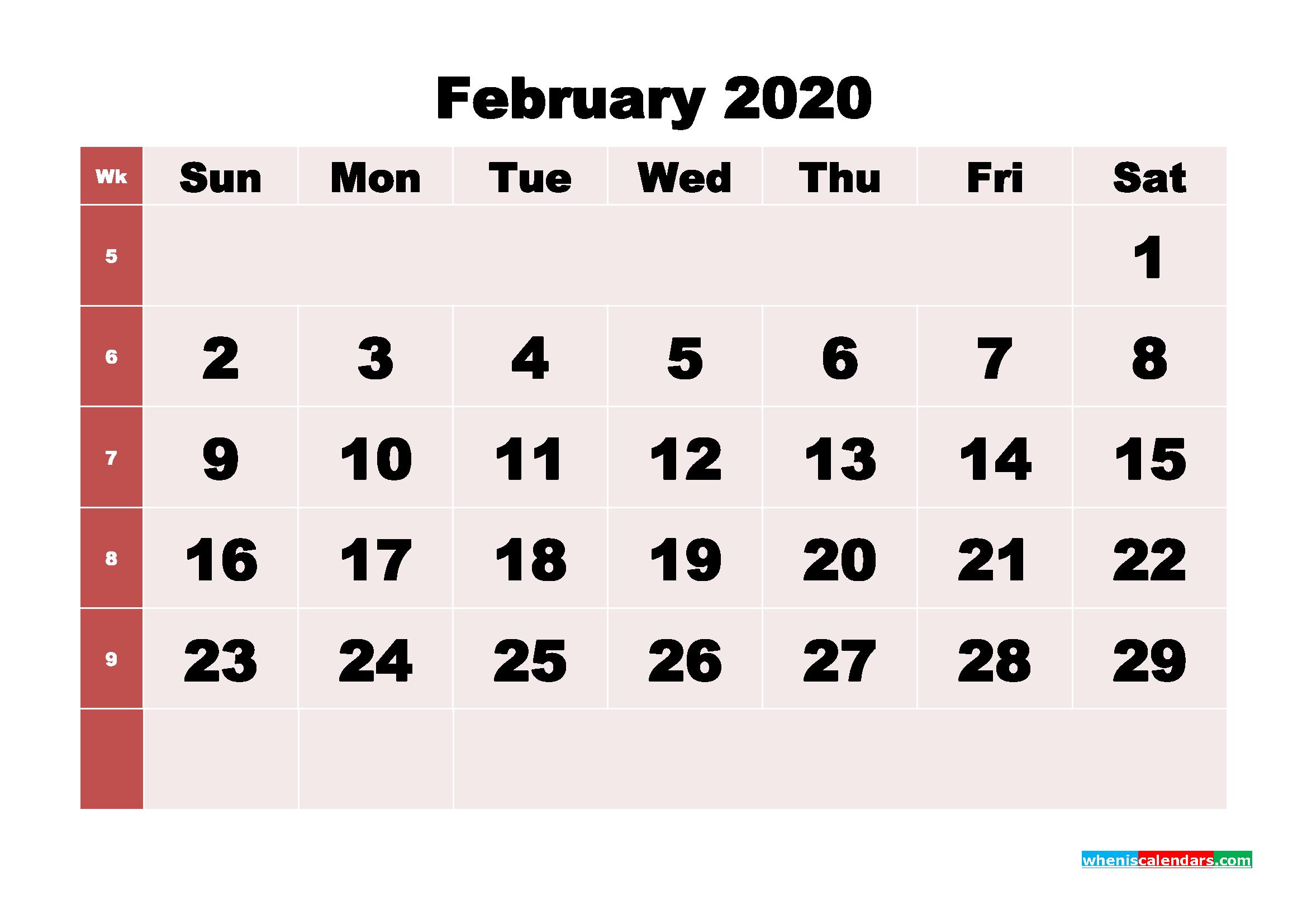 Free Printable February 2020 Calendar - No.m20b242