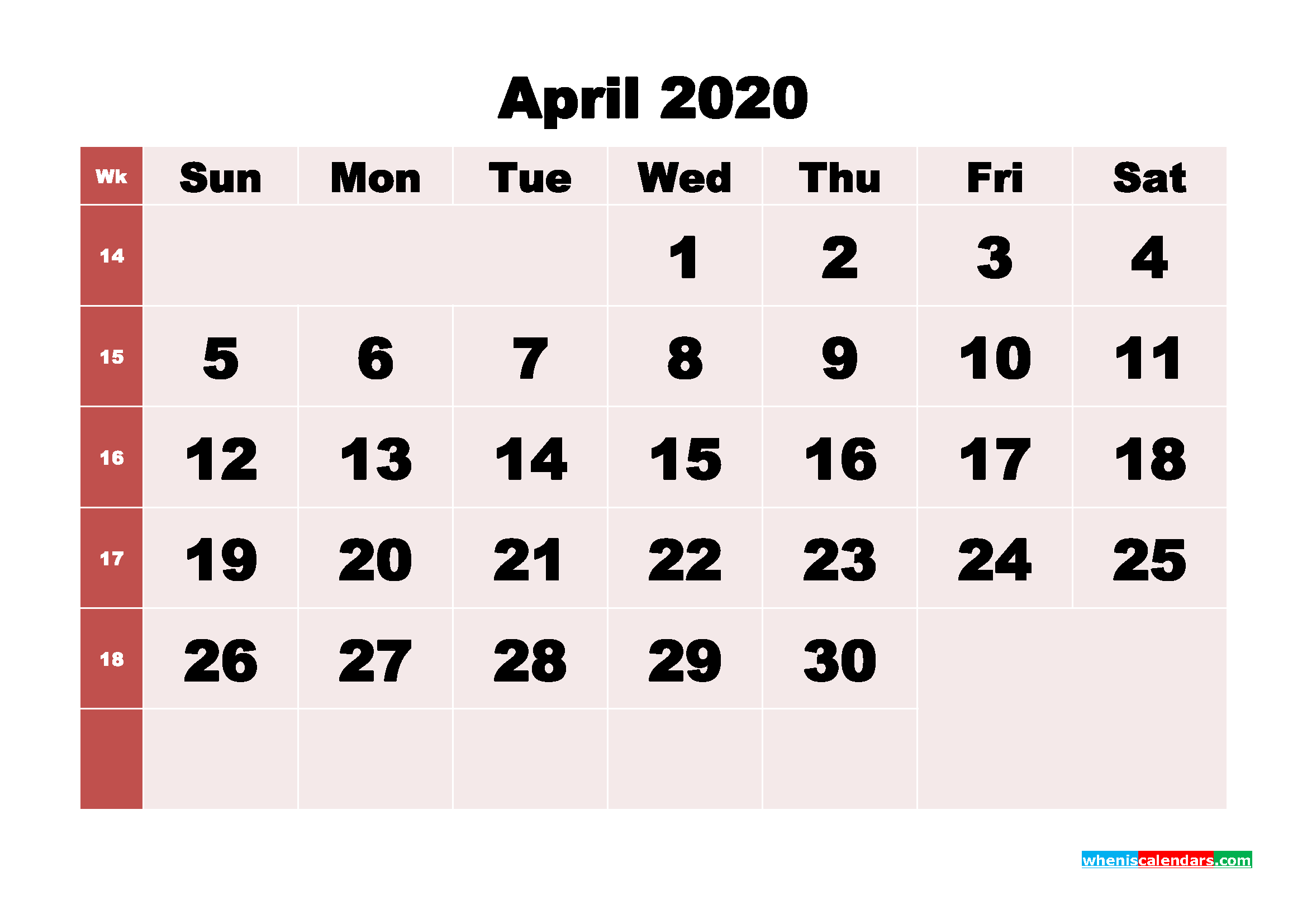Free Printable April 2020 Calendar - No.m20b244