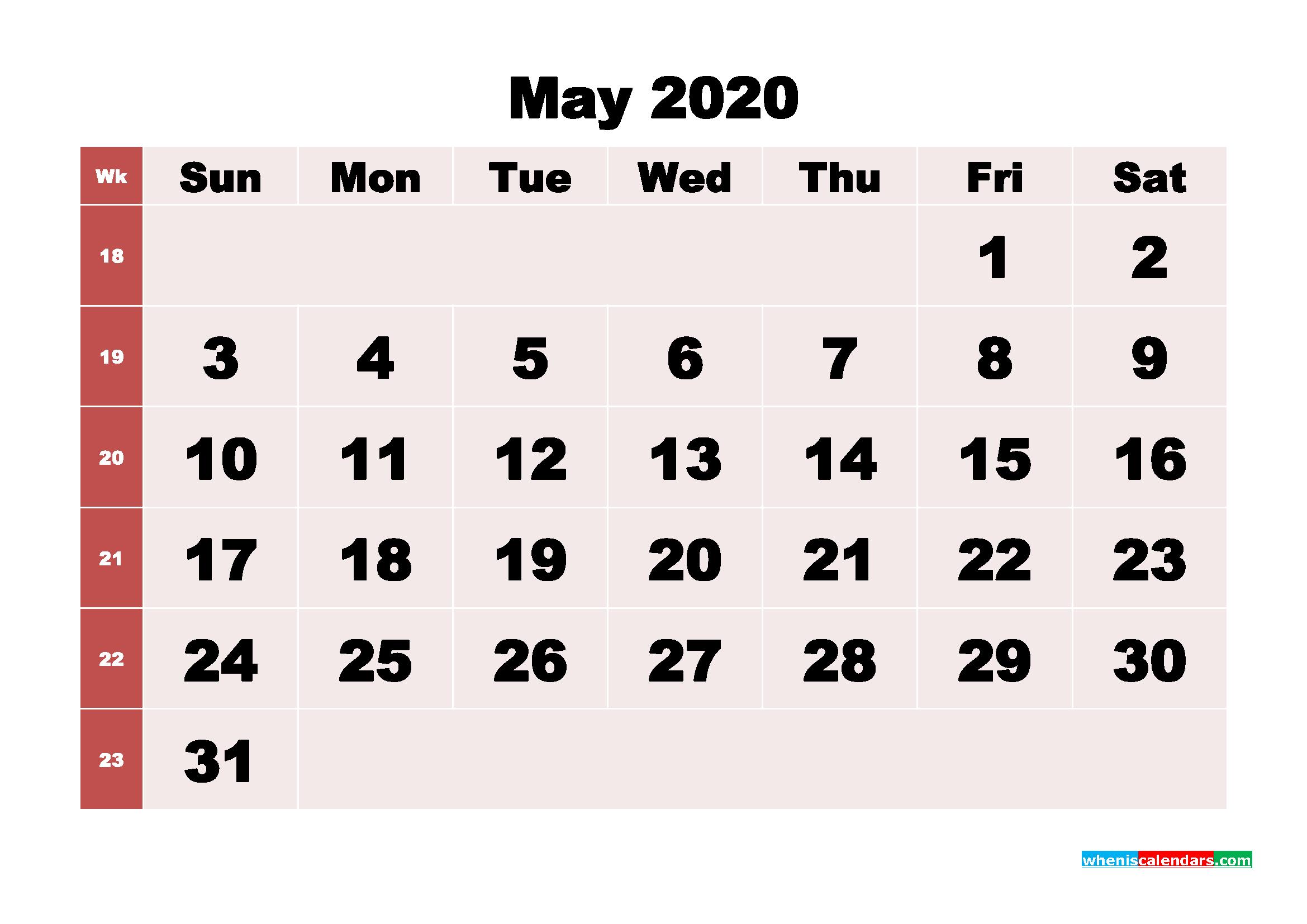 Free Printable May 2020 Calendar - No.m20b245