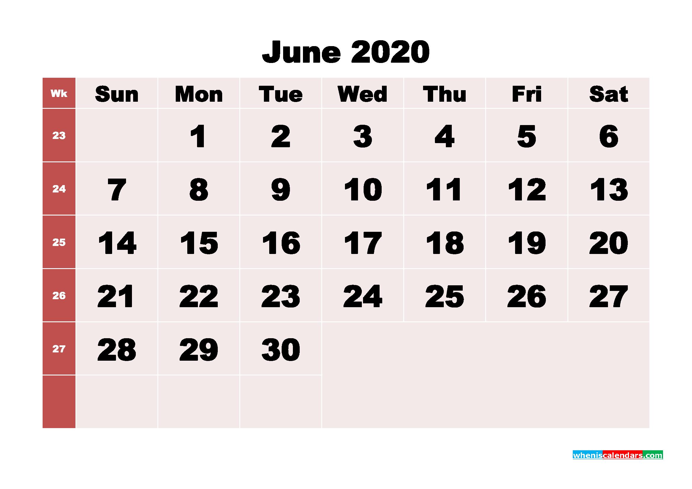 Free Printable June 2020 Calendar - No.m20b246
