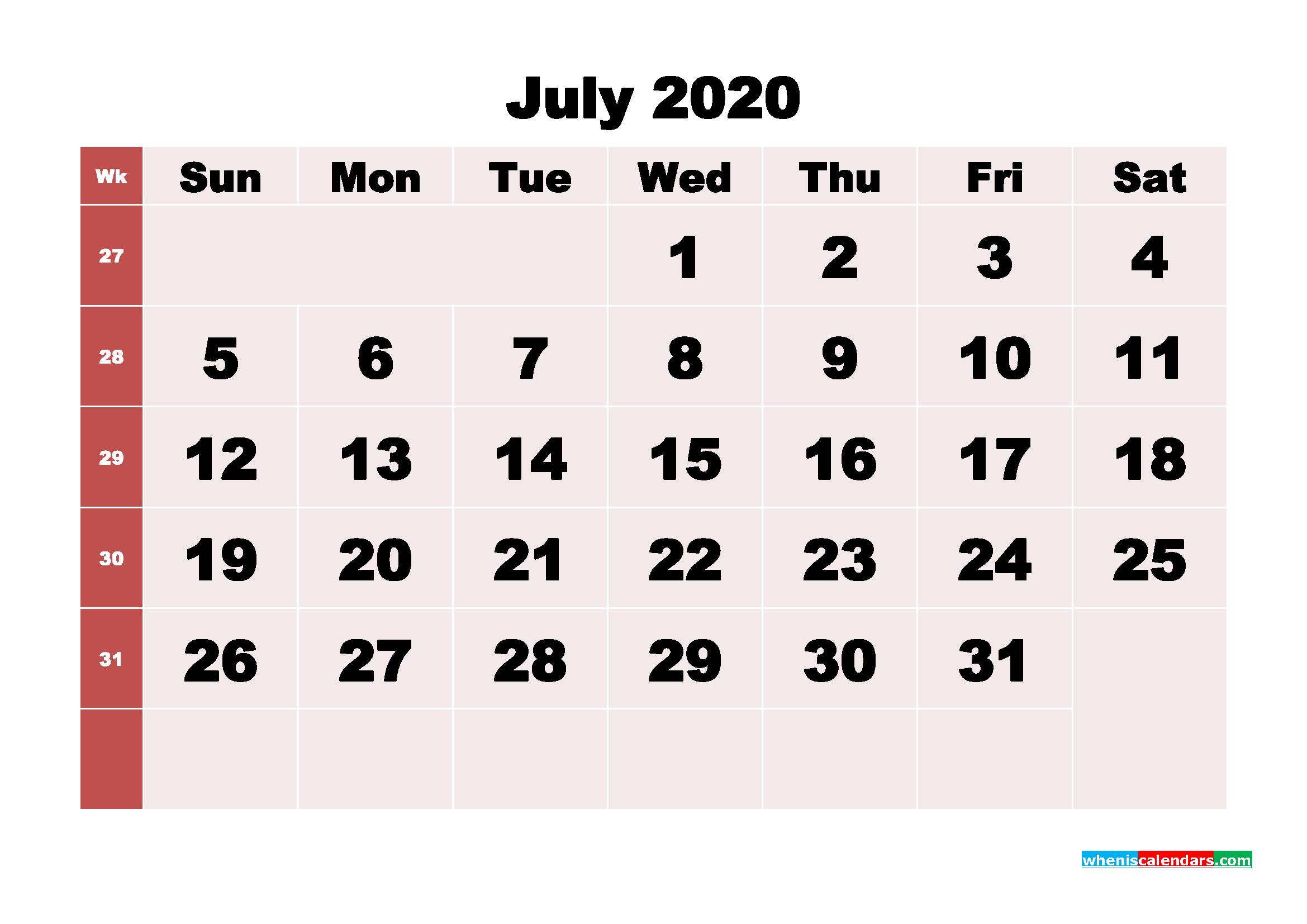 Free Printable July 2020 Calendar - No.m20b247