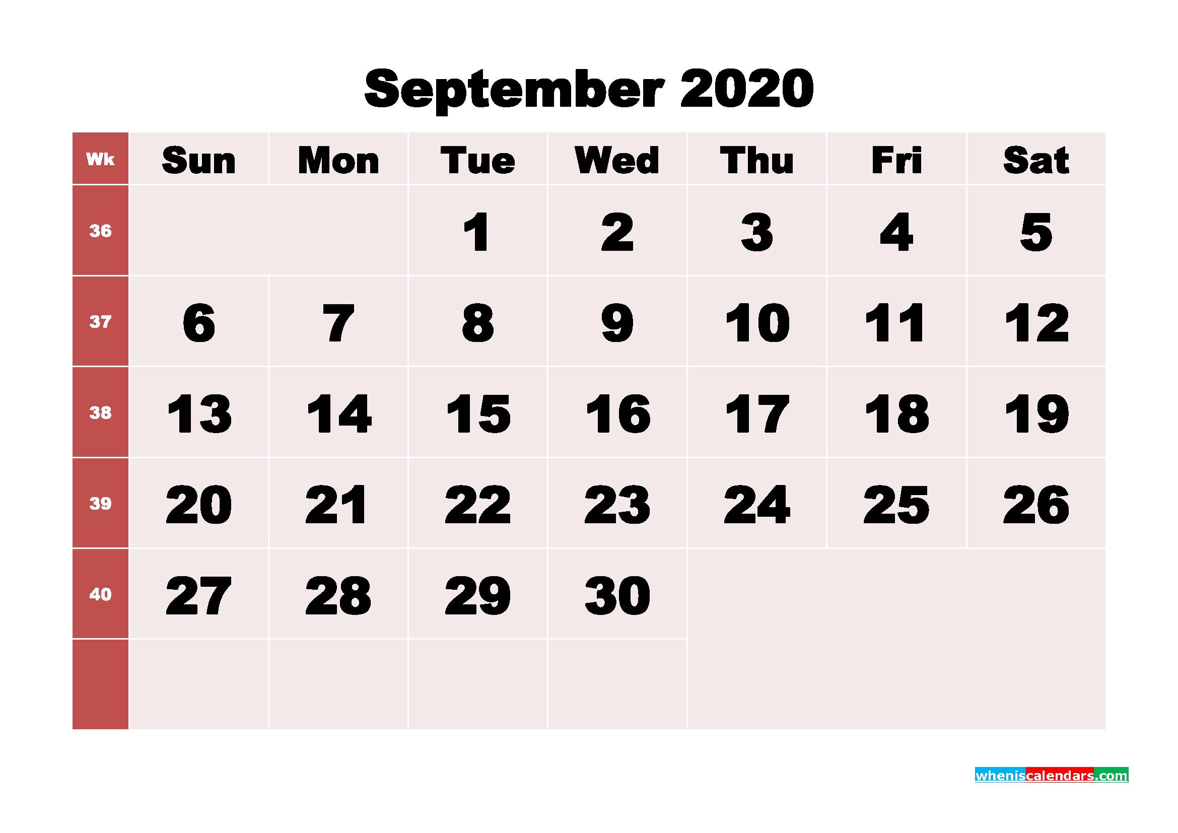 Free Printable September 2020 Calendar - No.m20b249